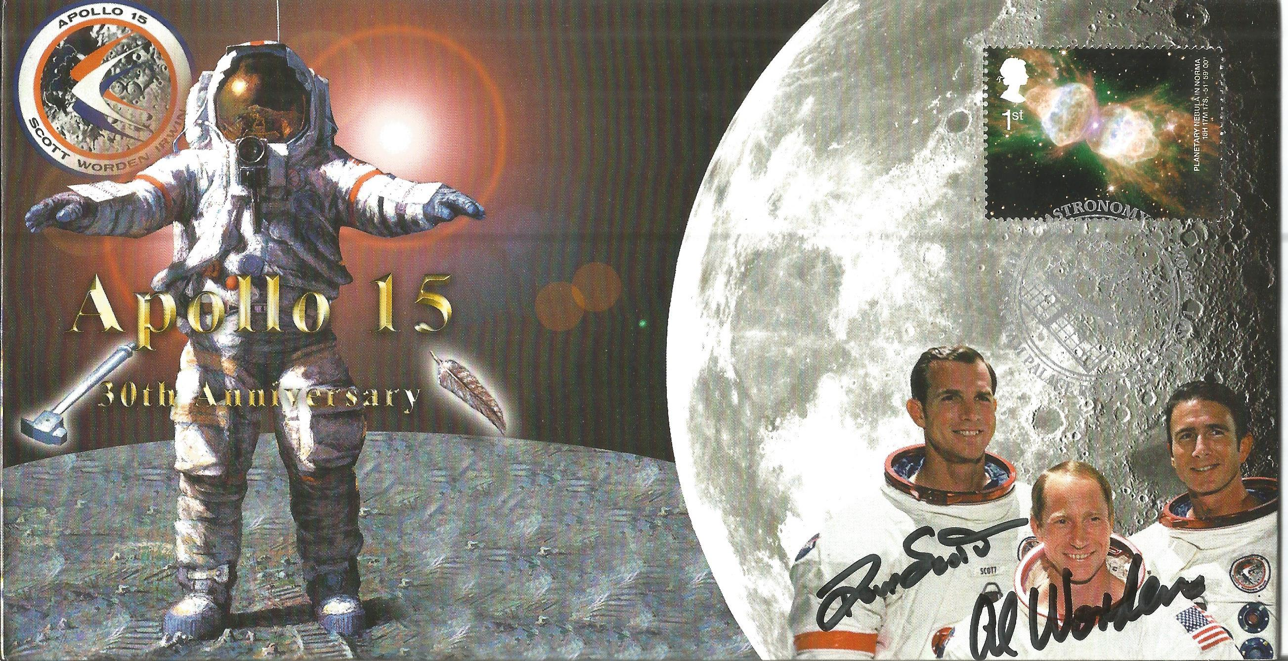 Space Moonwalker Dave Scott and Al Worden NASA Astronaut signed 2002 Apollo 15 Limited Edition
