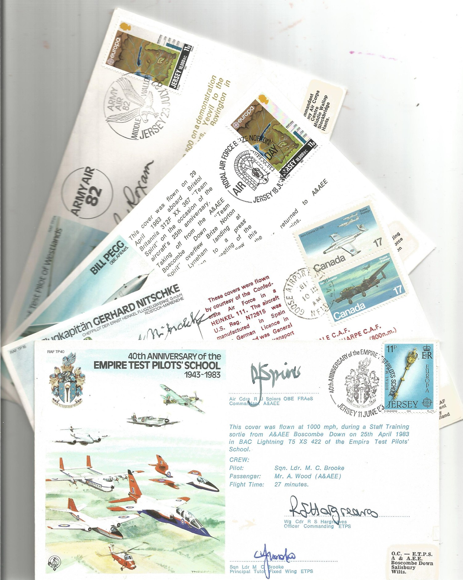Collection of 8 Signed Royal Air Force FDC and CC, Flown With Stamps and Various FDI Postmarks Dates - Image 2 of 2