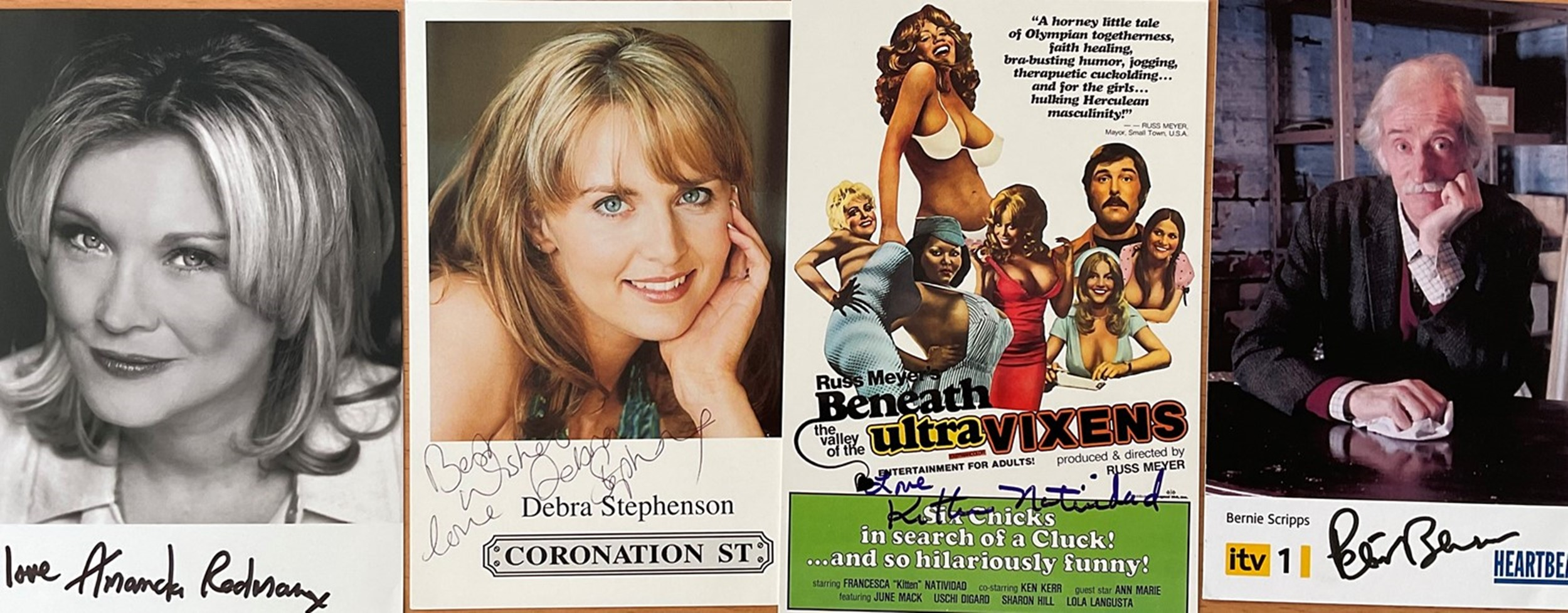 7 Signed TV and Film Stars Images Approx 6 x 3 Postcard Sized, Including Debra A Stevenson, Amanda