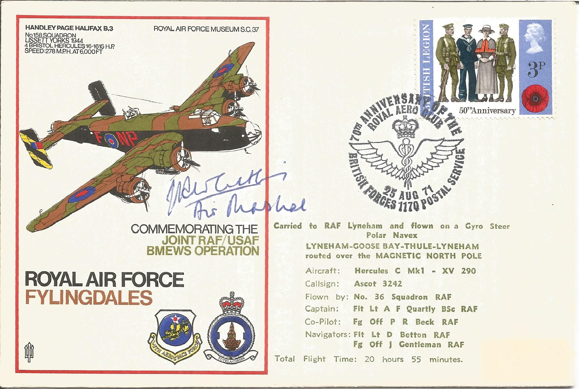 Air Marshall Sir John R. Whitley KBE CB DSO AFC* signed RAF Flyingdales Commemorating the Joint