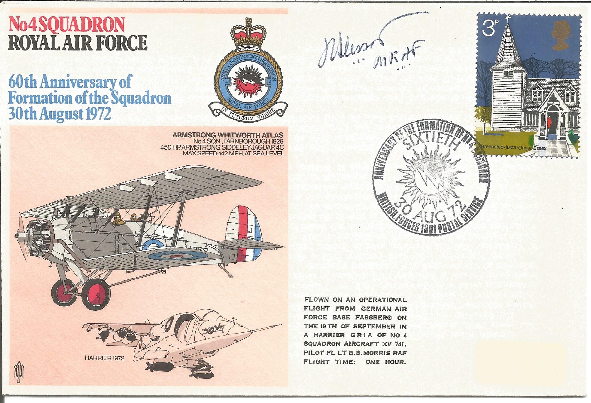 MRAF Slessor RFC WW1 signed No 4 Squadron RAF 60th Anniversary of Formation of the Squadron 30th