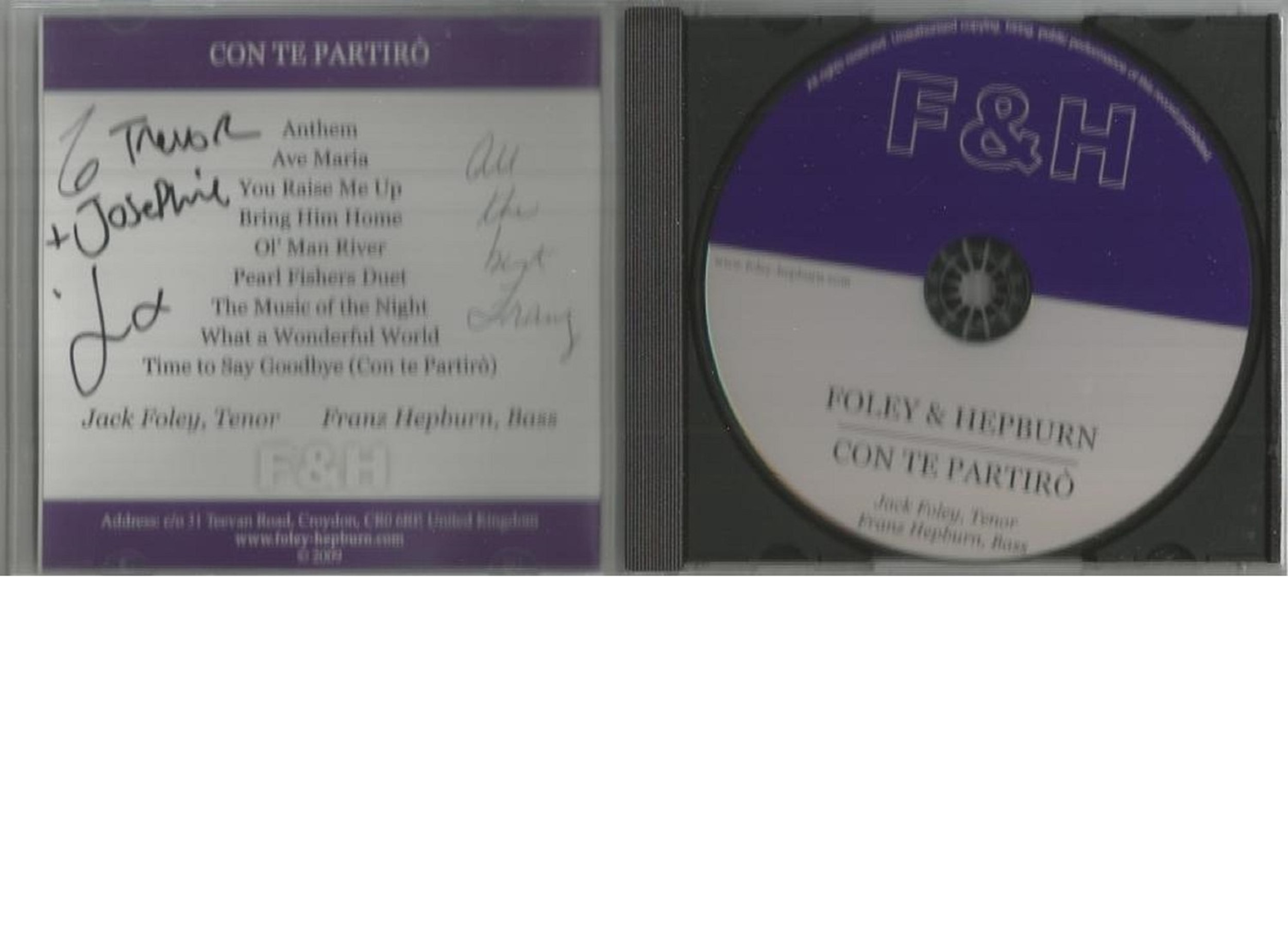 6 Signed CDs Including Andrea Ross Moon River Disc Included, Foley and Hepburn Con Te Partiro Disc - Image 5 of 6
