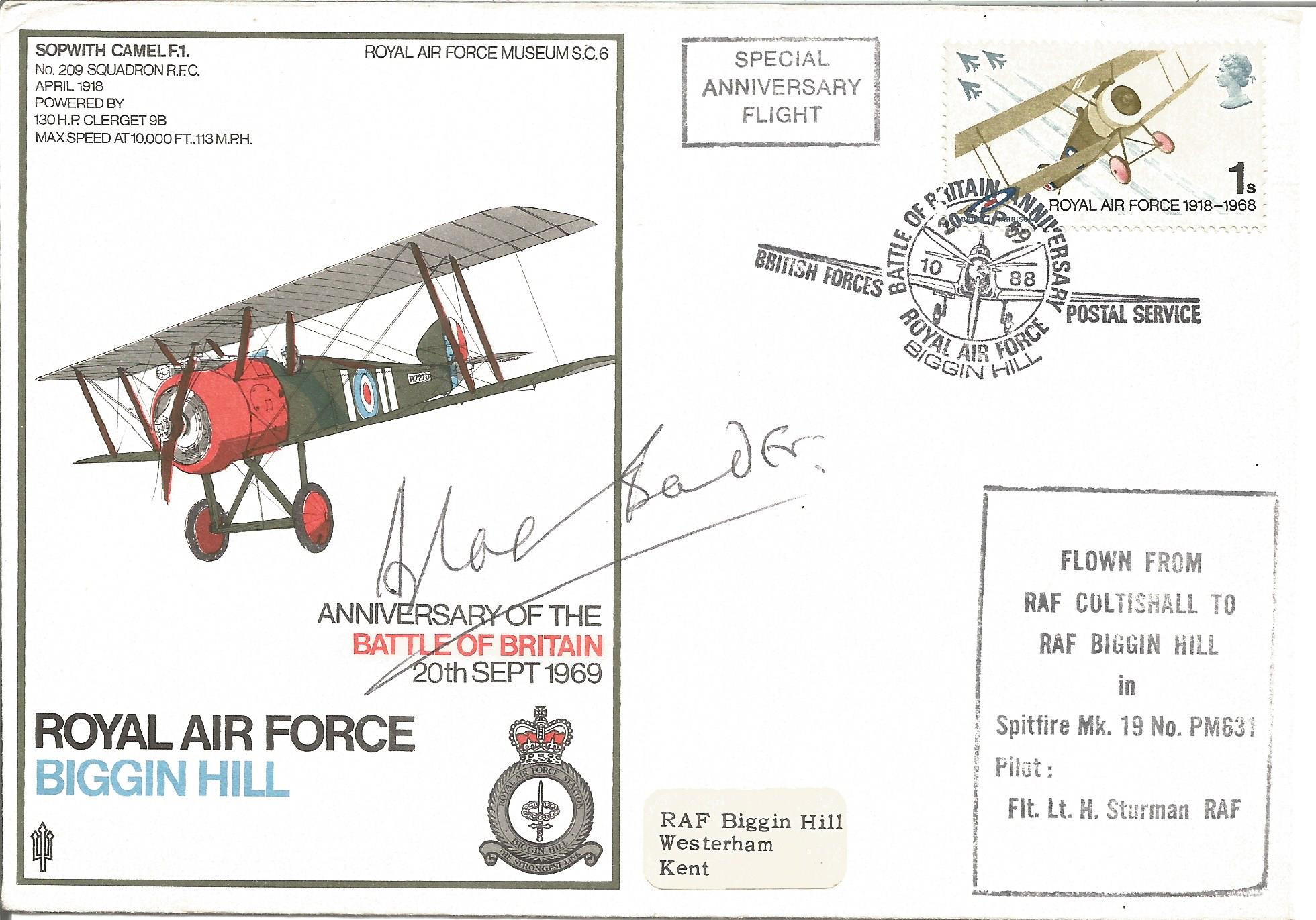 Douglas Bader signed RAF Biggin Hill Anniversary of the Battle of Britain 20th Sept 1969 FDC.
