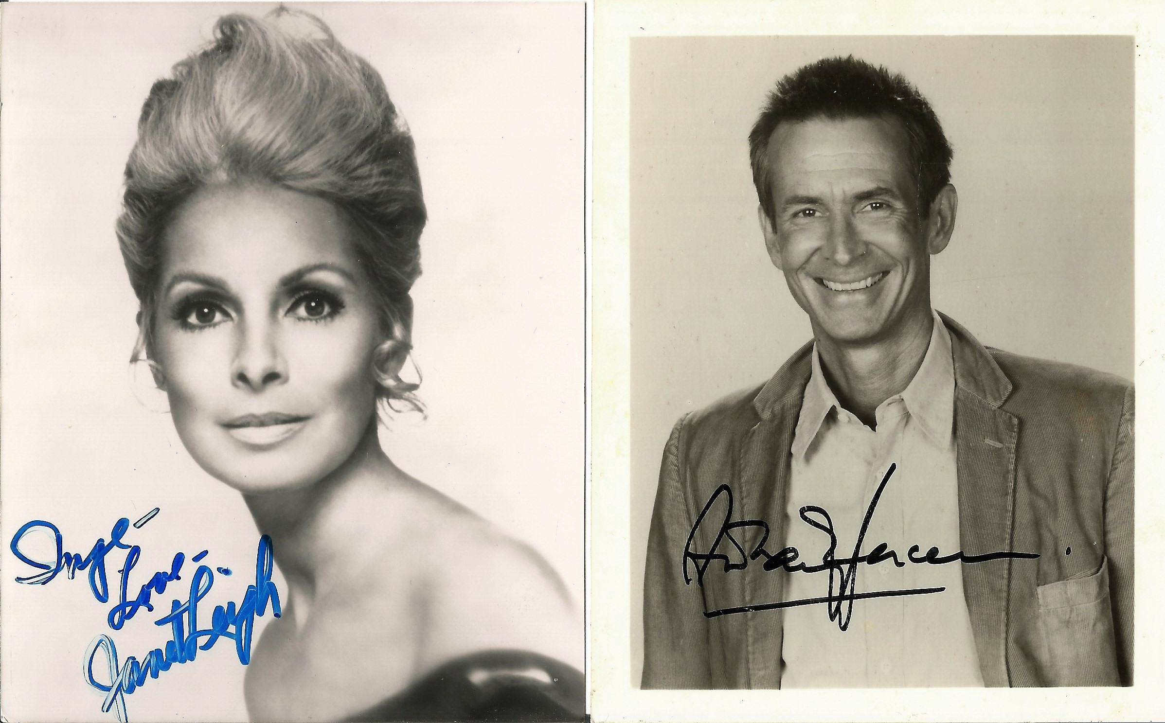 Janet Leigh and Perkins signed individual photos. Good condition. All autographs come with a