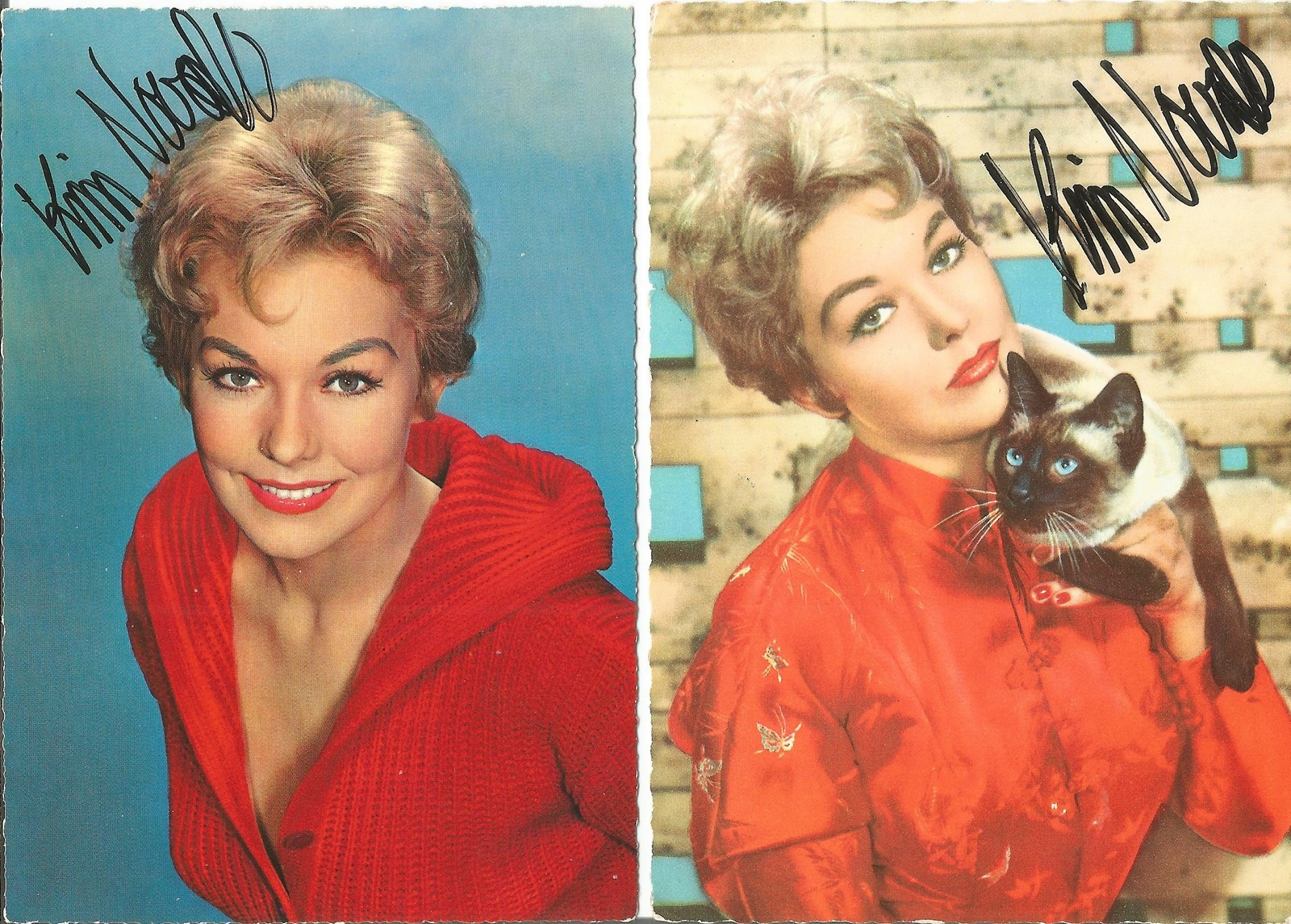 Kim Novak signed small photo collection. 3 in total. Good condition. All autographs come with a