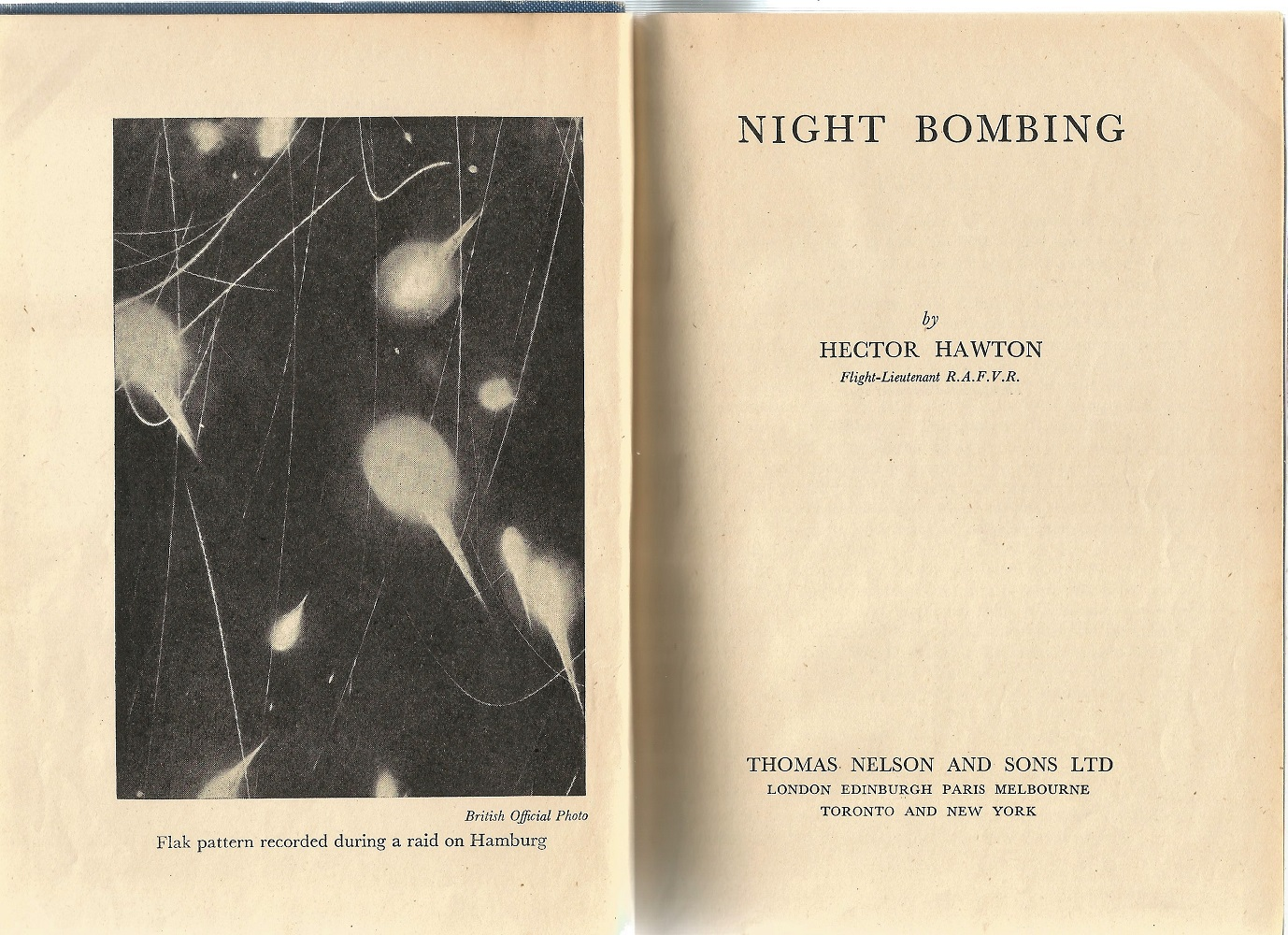 Flt Lt Hector Hawton. Night Bombing. A First Edition Signed Hardback book. Signed by Leonard V - Image 3 of 3