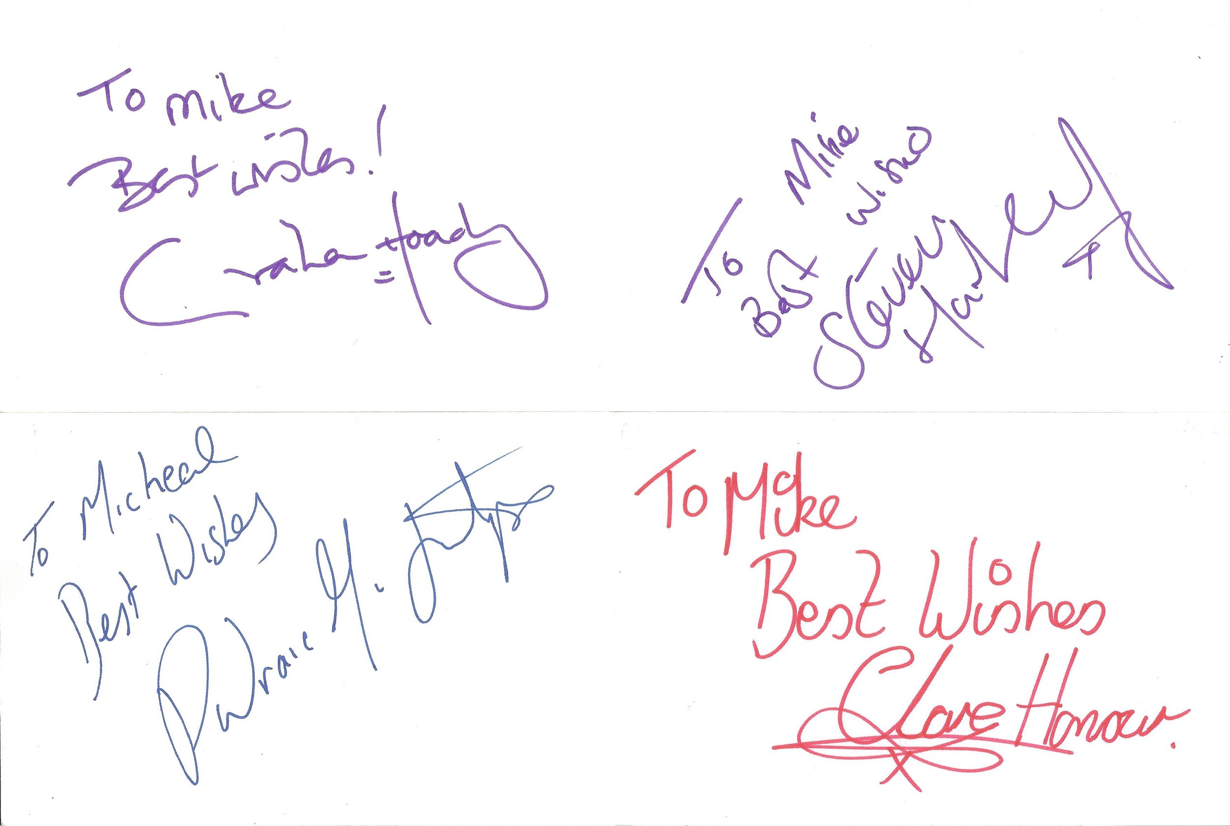 Collection of 50 Actor and Actress Signed 6 x 4 White Cards, Including Thomas Goodridge, Barry