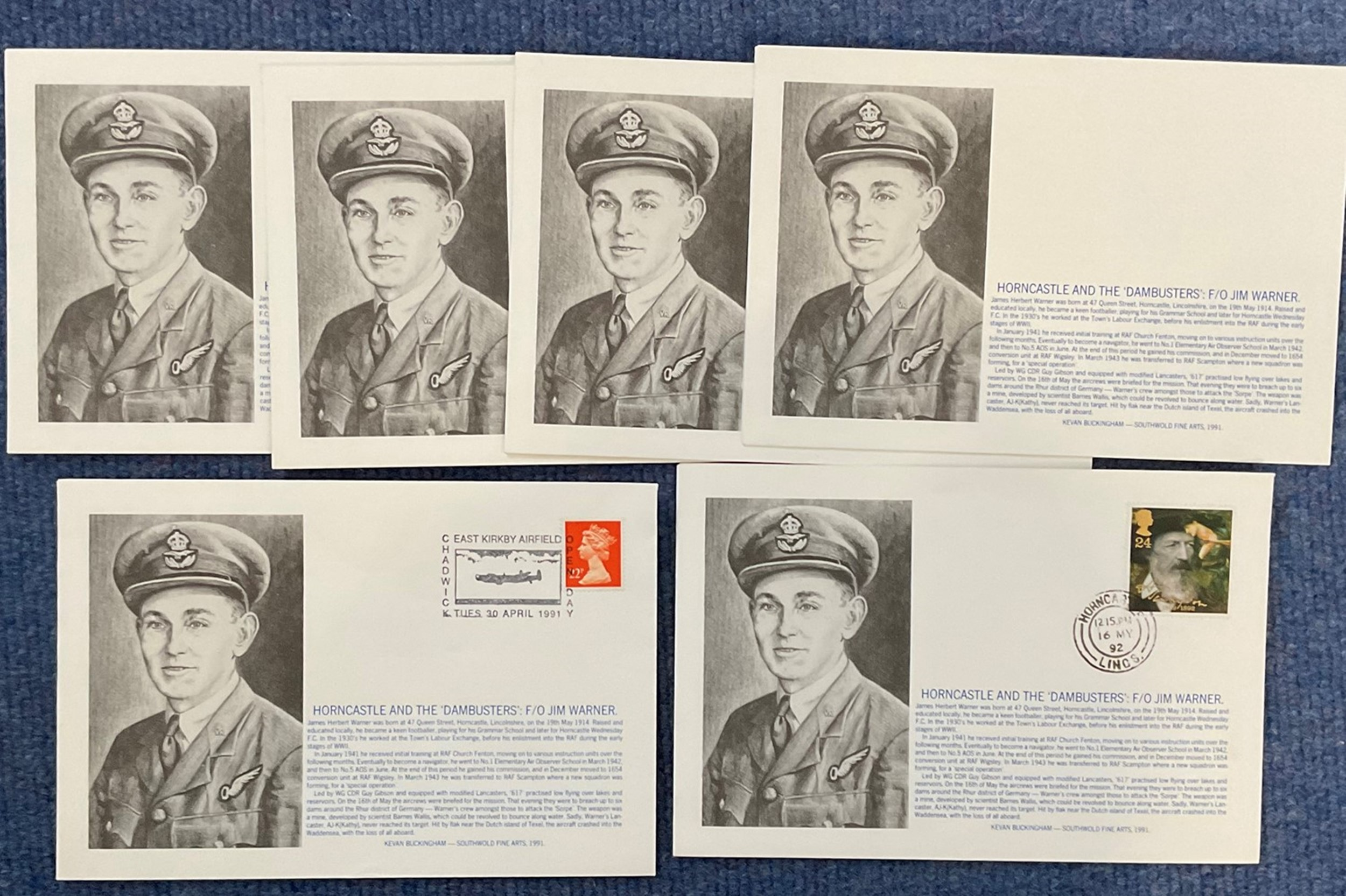 6 Limited Edition Signed Covers Horncastle and the Dambusters F/O Jim Warner, All are Signed on