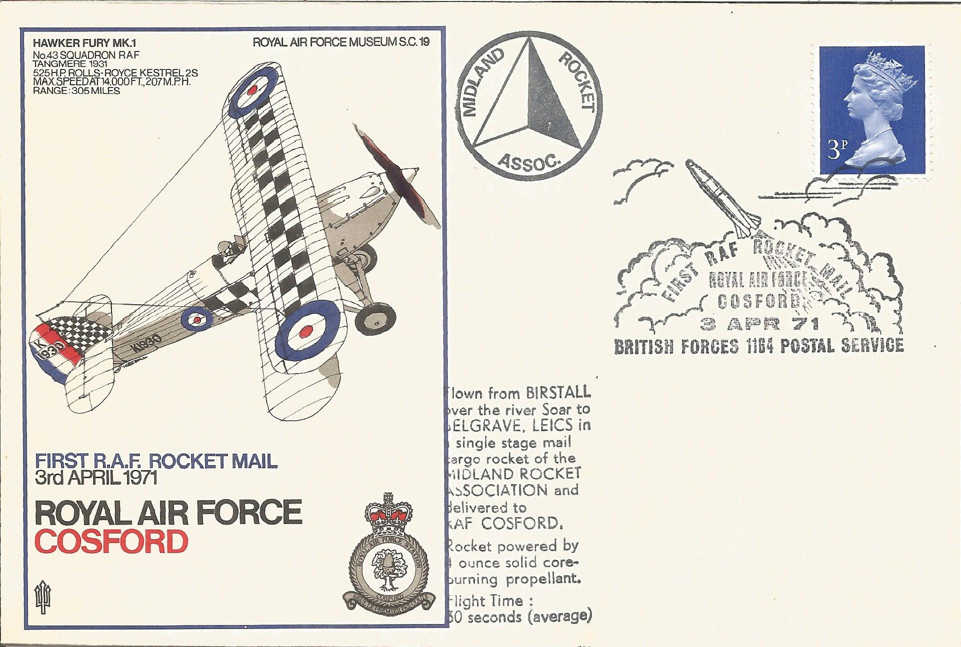 RAF Cosford First RAF Rocket mail 3rd April 1971 Unflown FDC SC19/10. Printers Colour Trials with