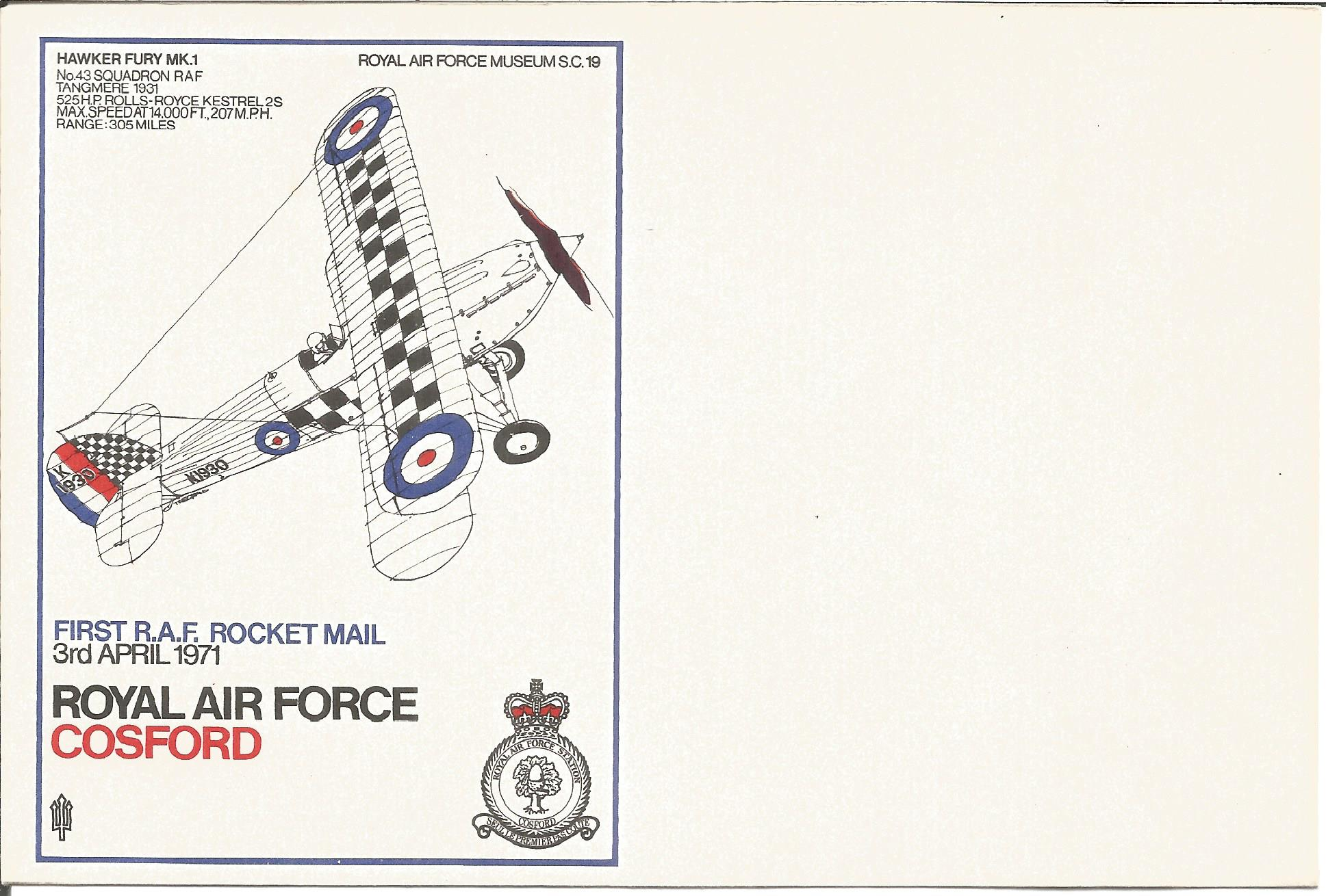 RAF Cosford First RAF Rocket Mail 3rd April 1971 SC19/6 printers colour trials design with missing