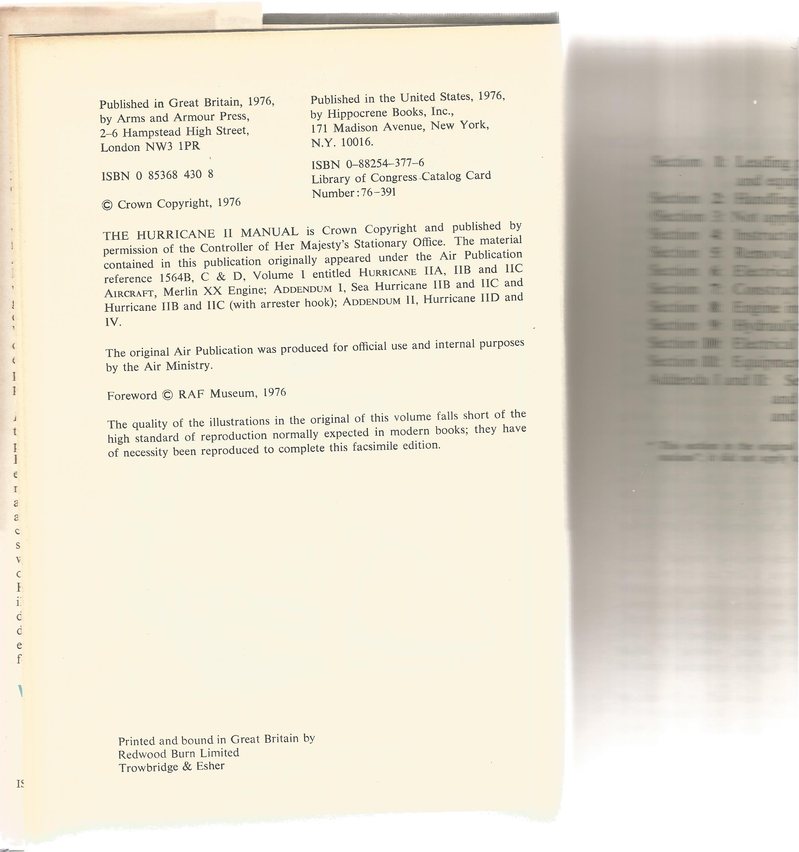 General Editor John Tanner. The Hurricane 2 Manual. The official air publication for the Hurricane - Image 2 of 3