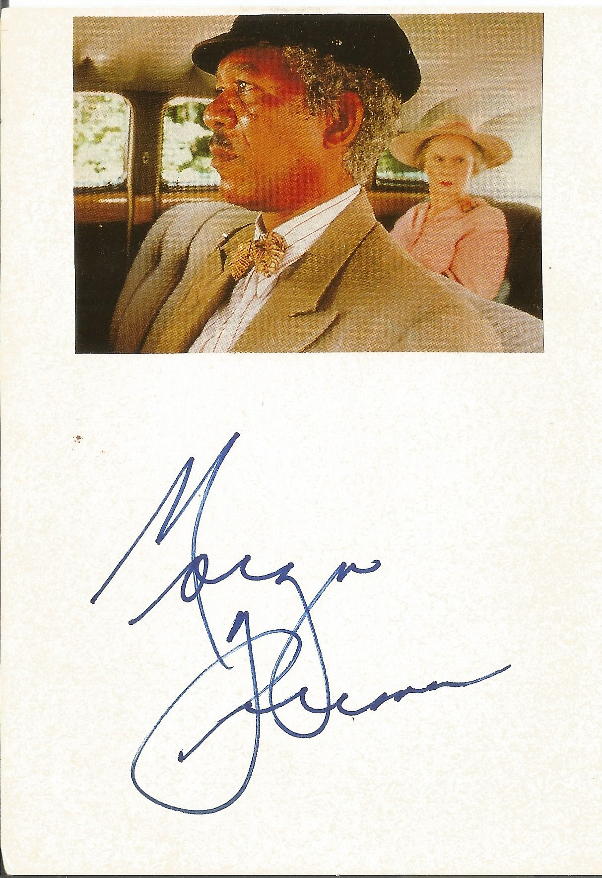 Morgan Freeman signed card below small colour photo. Approx overall size 6x4. Good condition. All