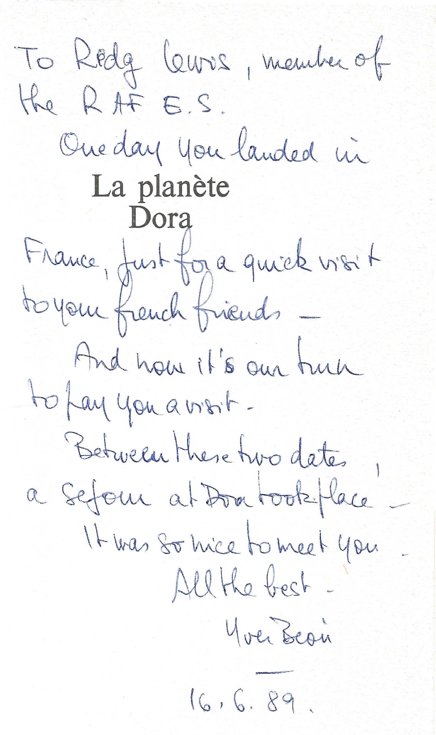 Yves Beon. La Planete Dora. A Paperback book in good condition. Signed by the Author. Dedicated to - Image 2 of 3