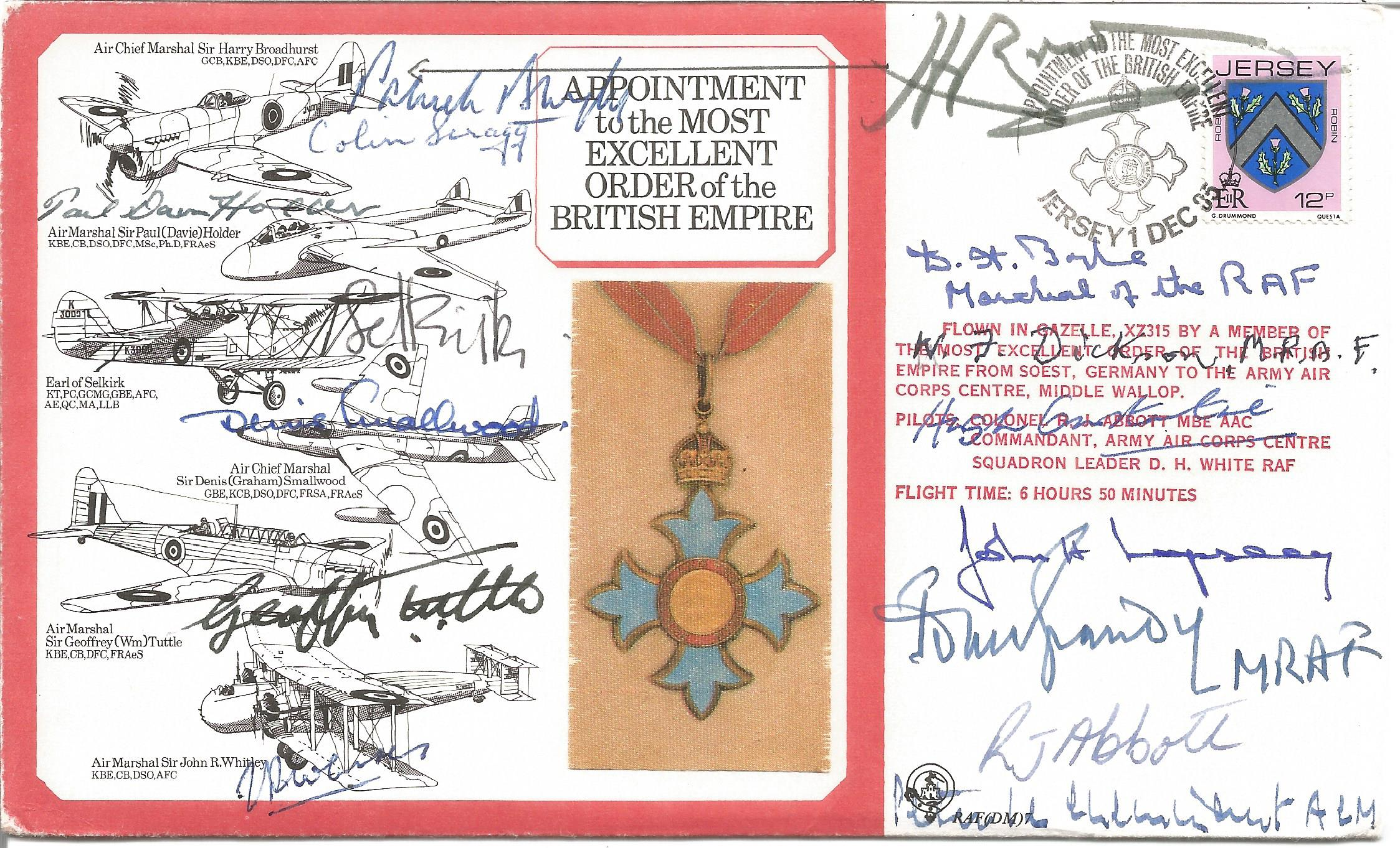 WW2 15 OBE winners multiple signed RAF medal cover. Includes Air Chief Marshal Sir H. Broadhurst,