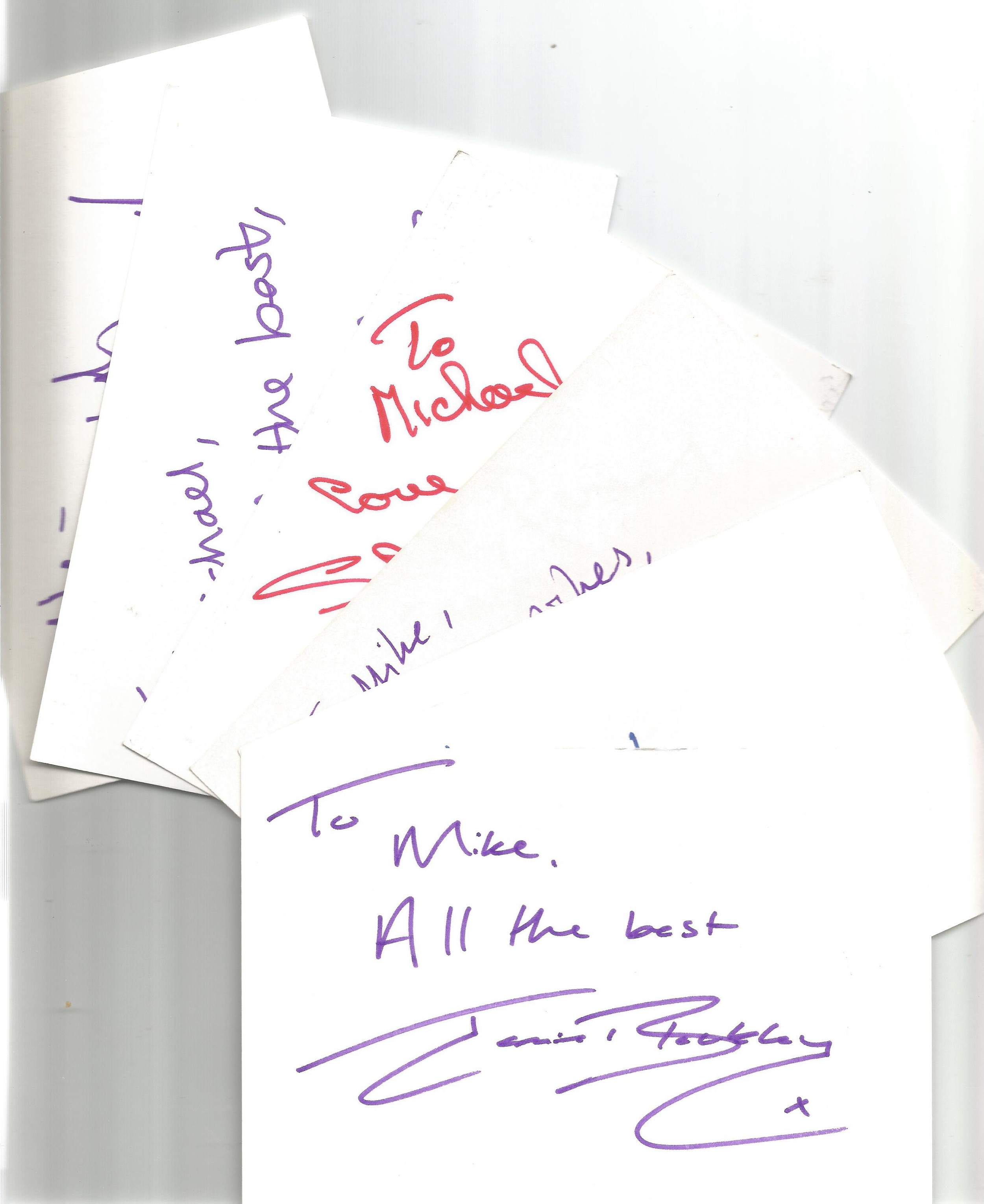 Bargain collection 9. 50 Actor and Actress signed cards from in person collector unsorted. Signed - Image 2 of 3