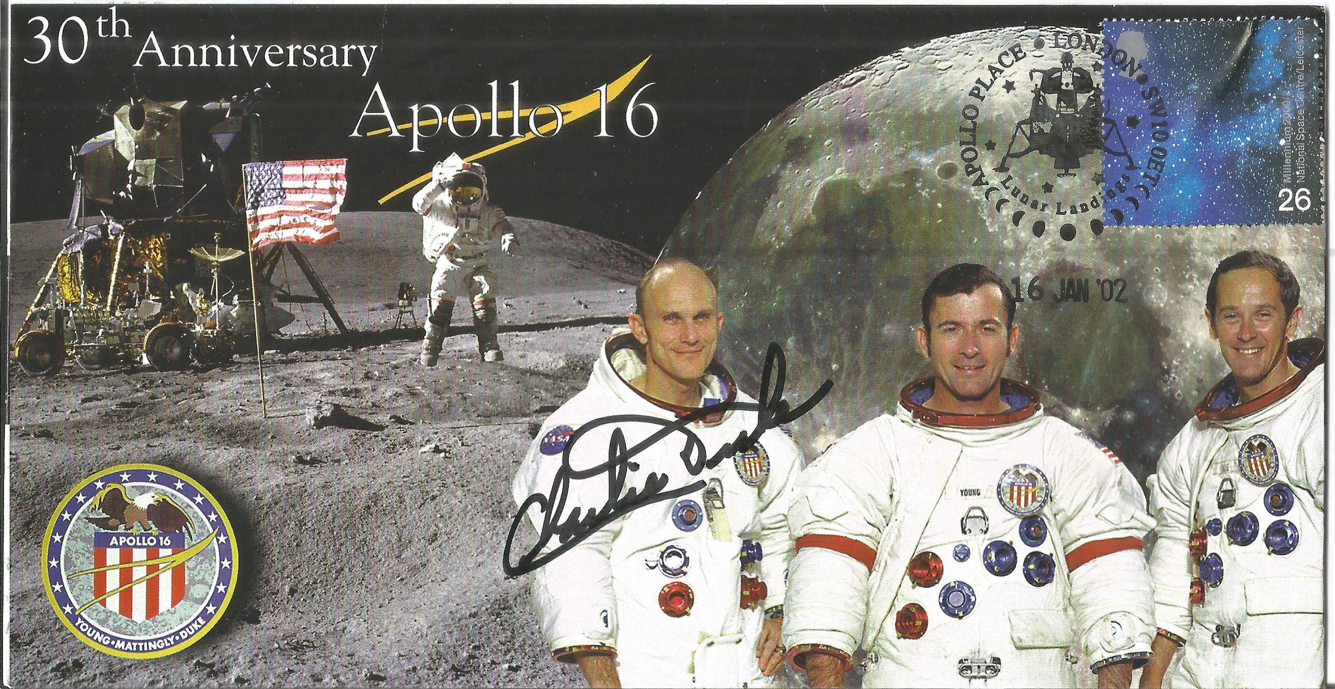 Space Moonwalker Charlie Duke NASA Astronaut signed 2002 Apollo 16 Limited Edition cover. Good