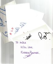 Bargain collection 9. 50 Actor and Actress signed cards from in person collector unsorted. Signed