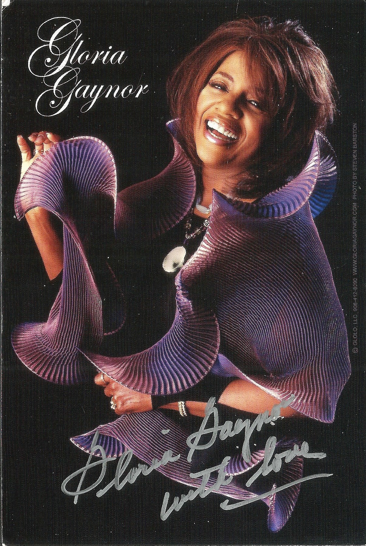 Gloria Gaynor signed 6x4 colour promo card. Good condition. All autographs come with a Certificate