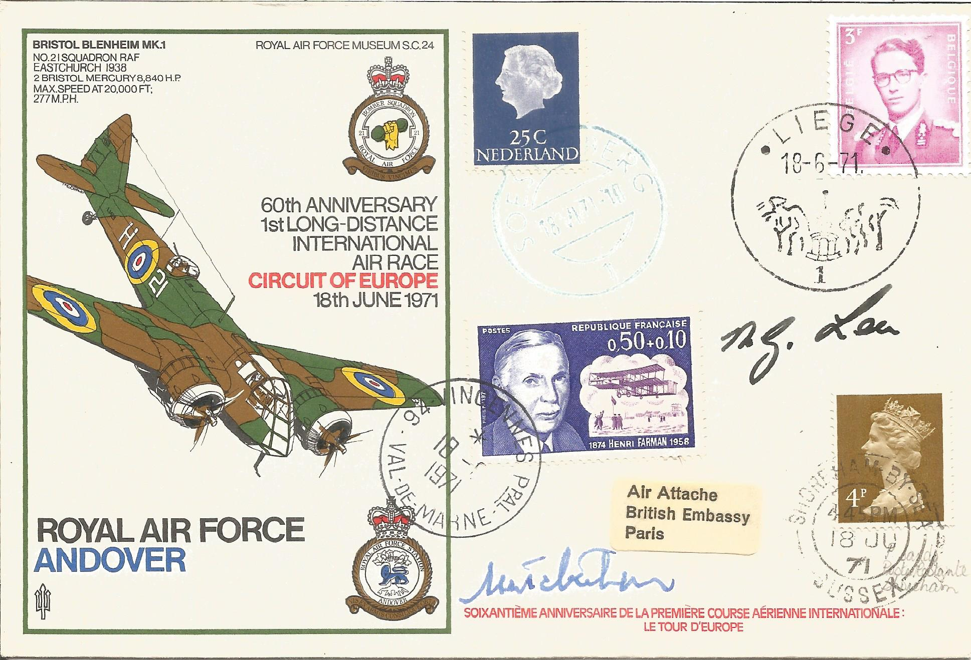 Sqn Ldr N.G. Lea RAF signed RAF Andover 60th Anniversary 1st Long Distance International Air Race