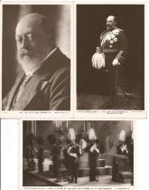 H.M. King Edward VII postcard collection, 3 postcards two showing King Edward VII and one of him