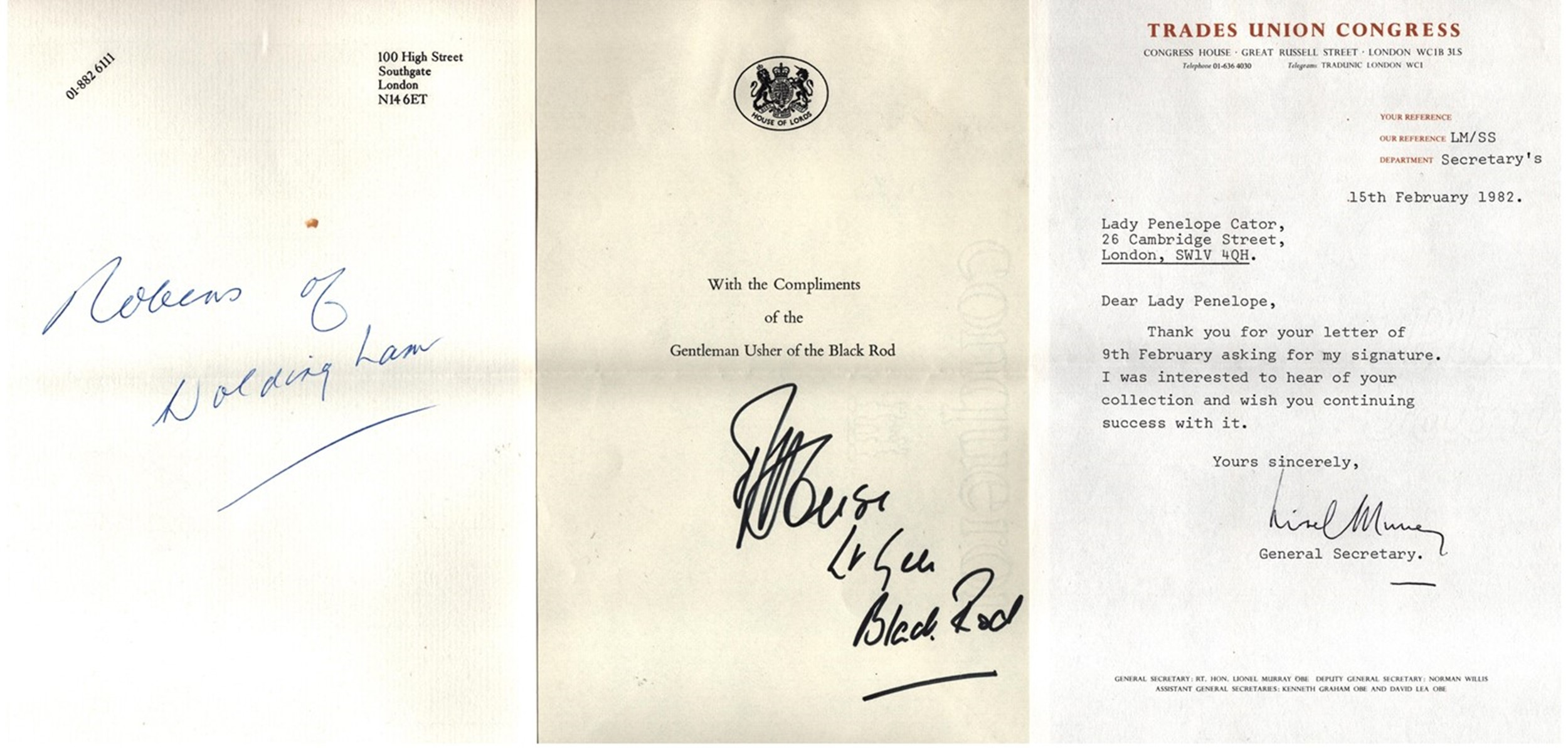 Assorted signed collection. Mainly signed letters. Amongst the signatures are Lt Gen David House,