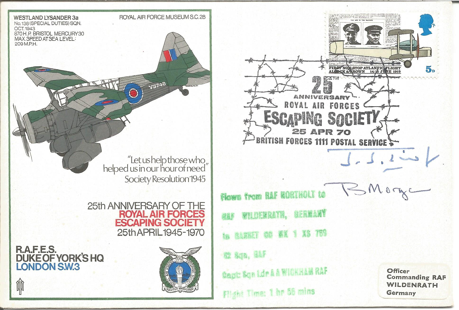 B. Morgan and J.J. Twist signed 25th Anniversary of the Royal Air Forces Escaping Society 25th April