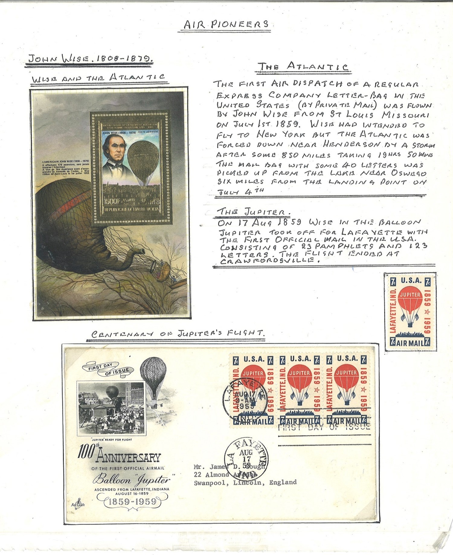 Historical Aviation Collection Comprising of Signed by Designer, Picture of Airship, Signed US - Image 2 of 3