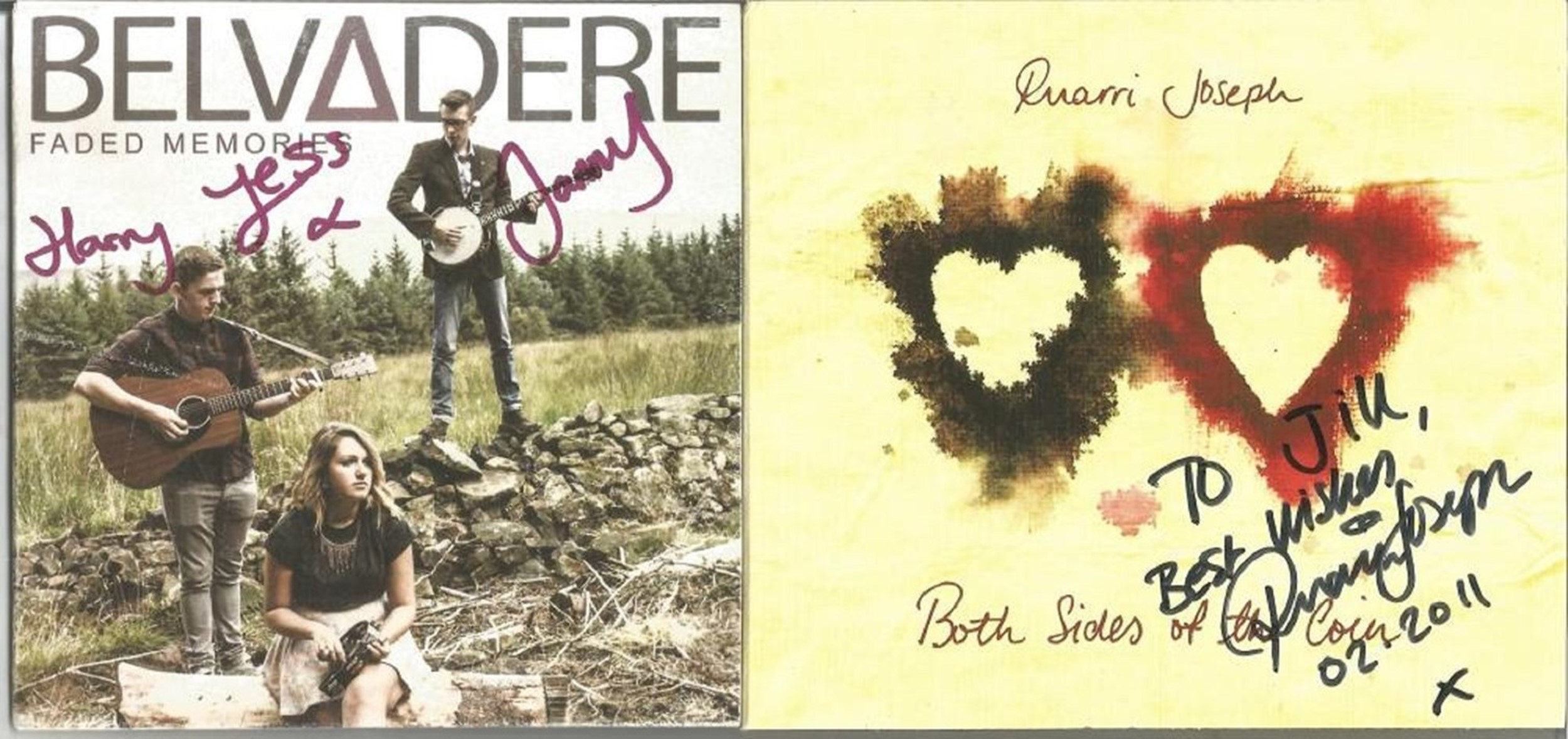 6 Signed CDs Including Ruarri Joseph Both Sides of the Coin Disc Included, Belvedere Faded