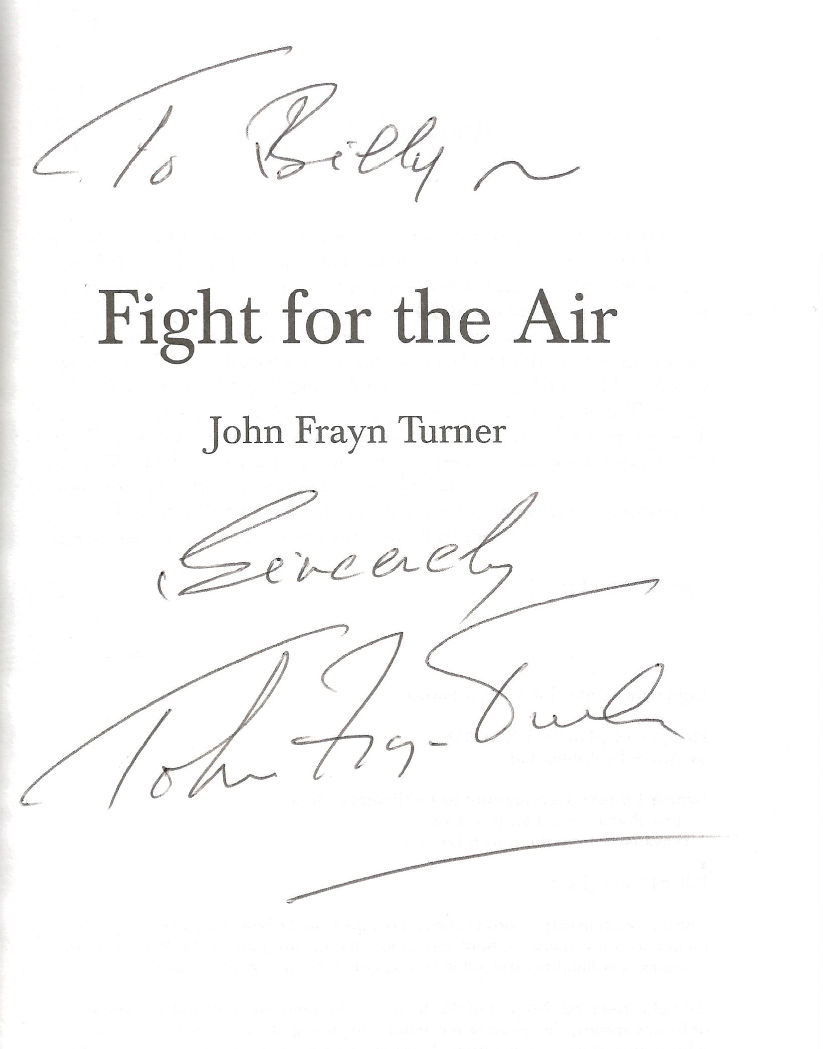 John Frayn Turner. Fight For The Air, Air Battles Of WW2. A First Edition hardback book in good