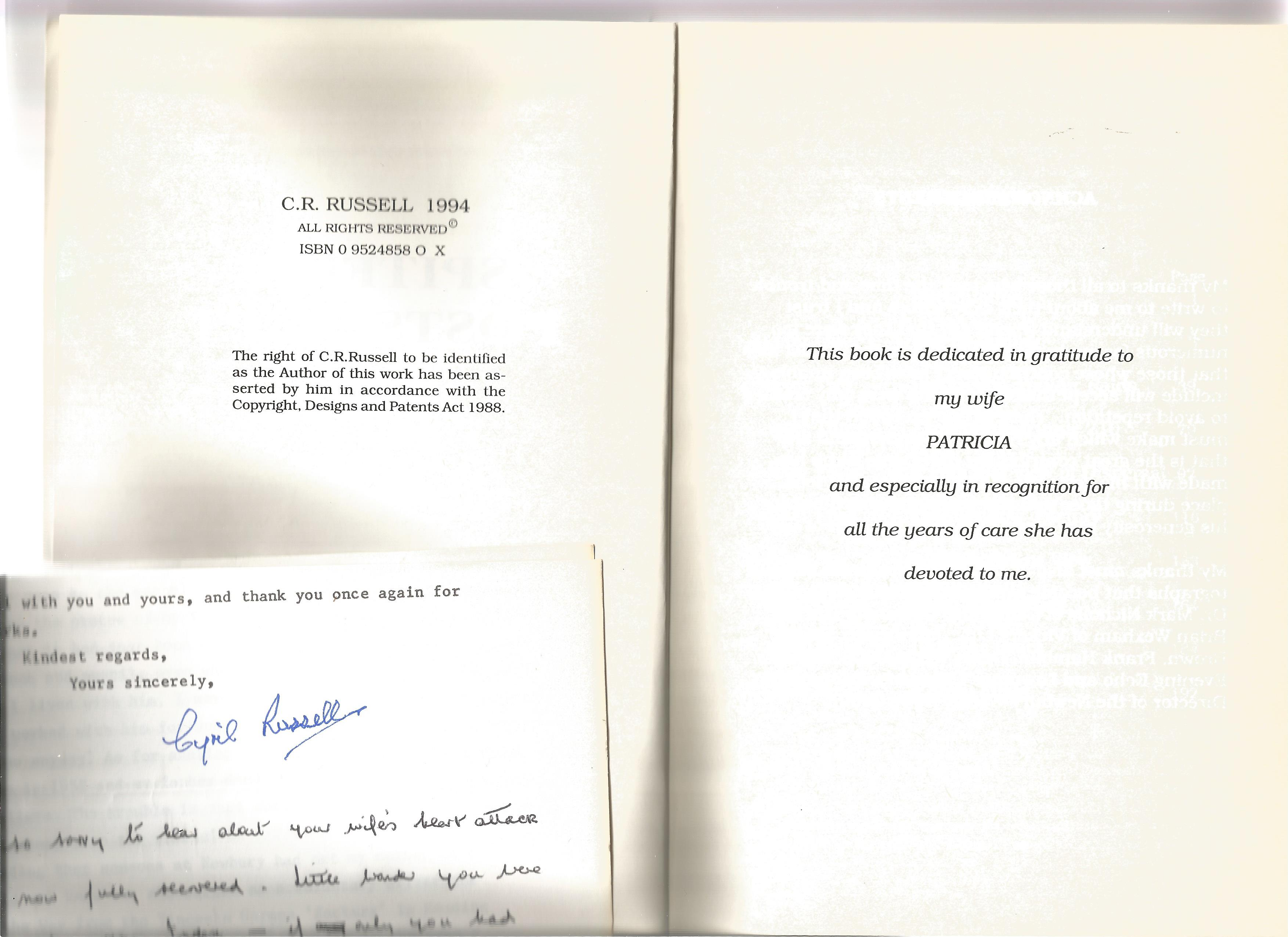 C R Russell. Spitfire Postscript. A WW2 paperback book. The book itself is unsigned. A 204 paged - Image 2 of 3