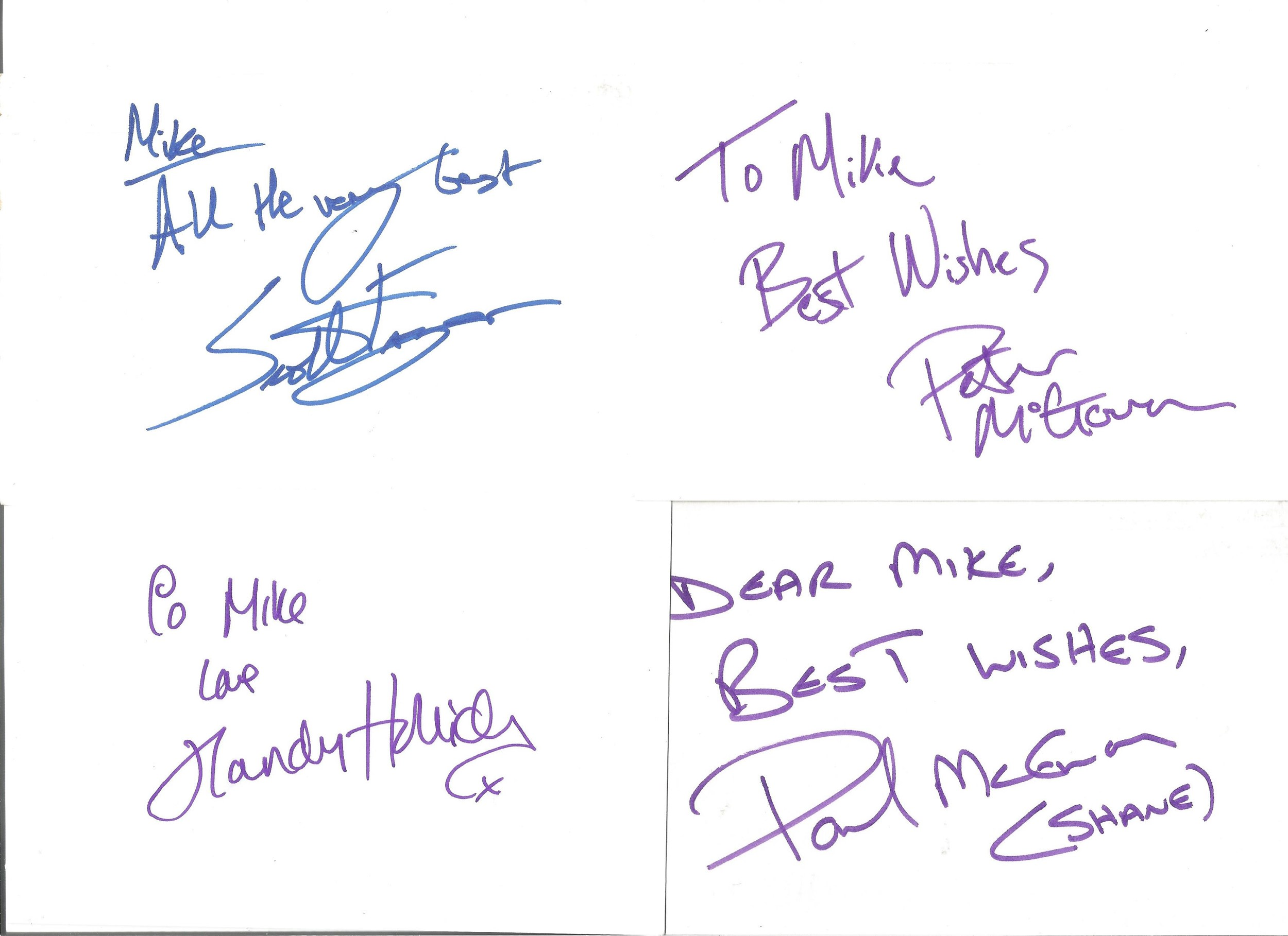 Collection of 50 Actor and Actress Signed 6 x 4 White Cards, Including Peter McGovern, Paul