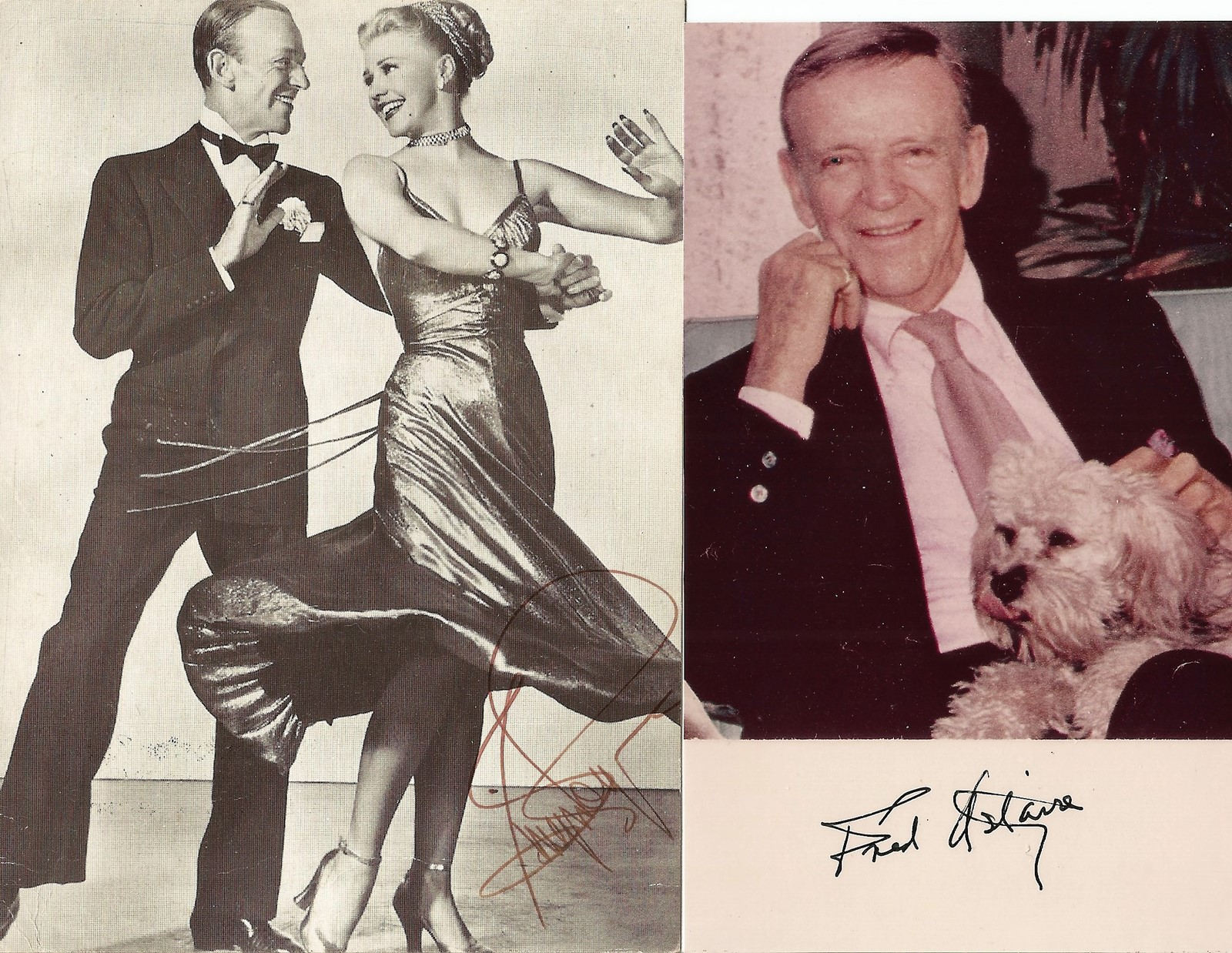 Fred Astaire and Ginger Rogers signatures on individual photos. Good condition. All autographs