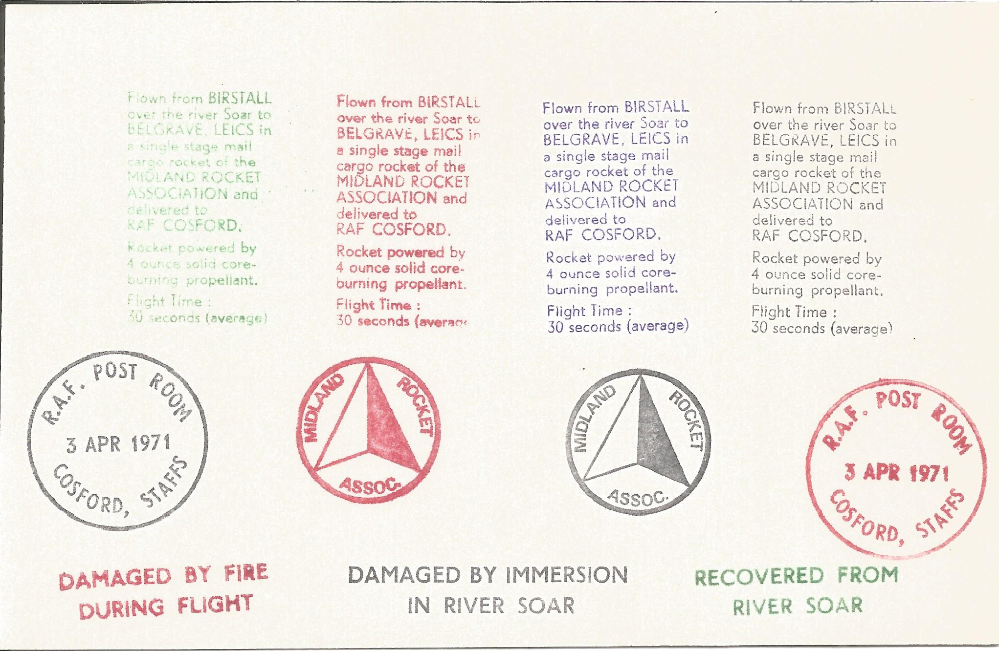 SC19/22 Printers Colour Trials card showing damage by fire, damaged by immersion and recovered