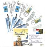 Collection of 8 Signed Royal Air Force FDC and CC, Flown With Stamps and Various FDI Postmarks Dates