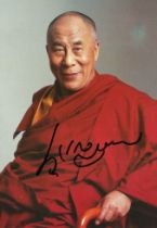 Dalai Lama signed 7x5 colour photo. is a title given by the Tibetan people to the foremost spiritual