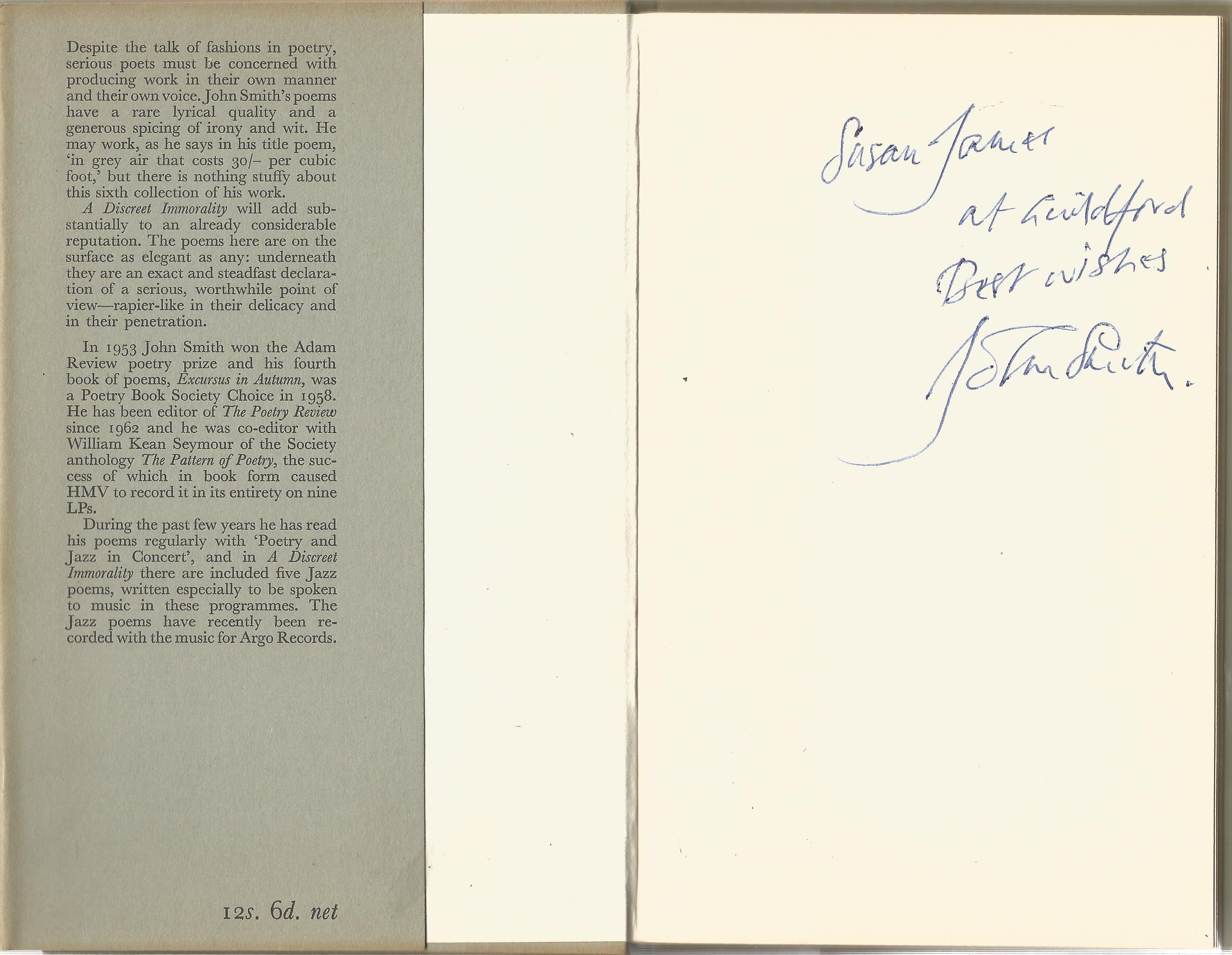 John Smith Hardback Book A Discreet Immortality 1965 signed by the Author on the First Page some - Image 2 of 2