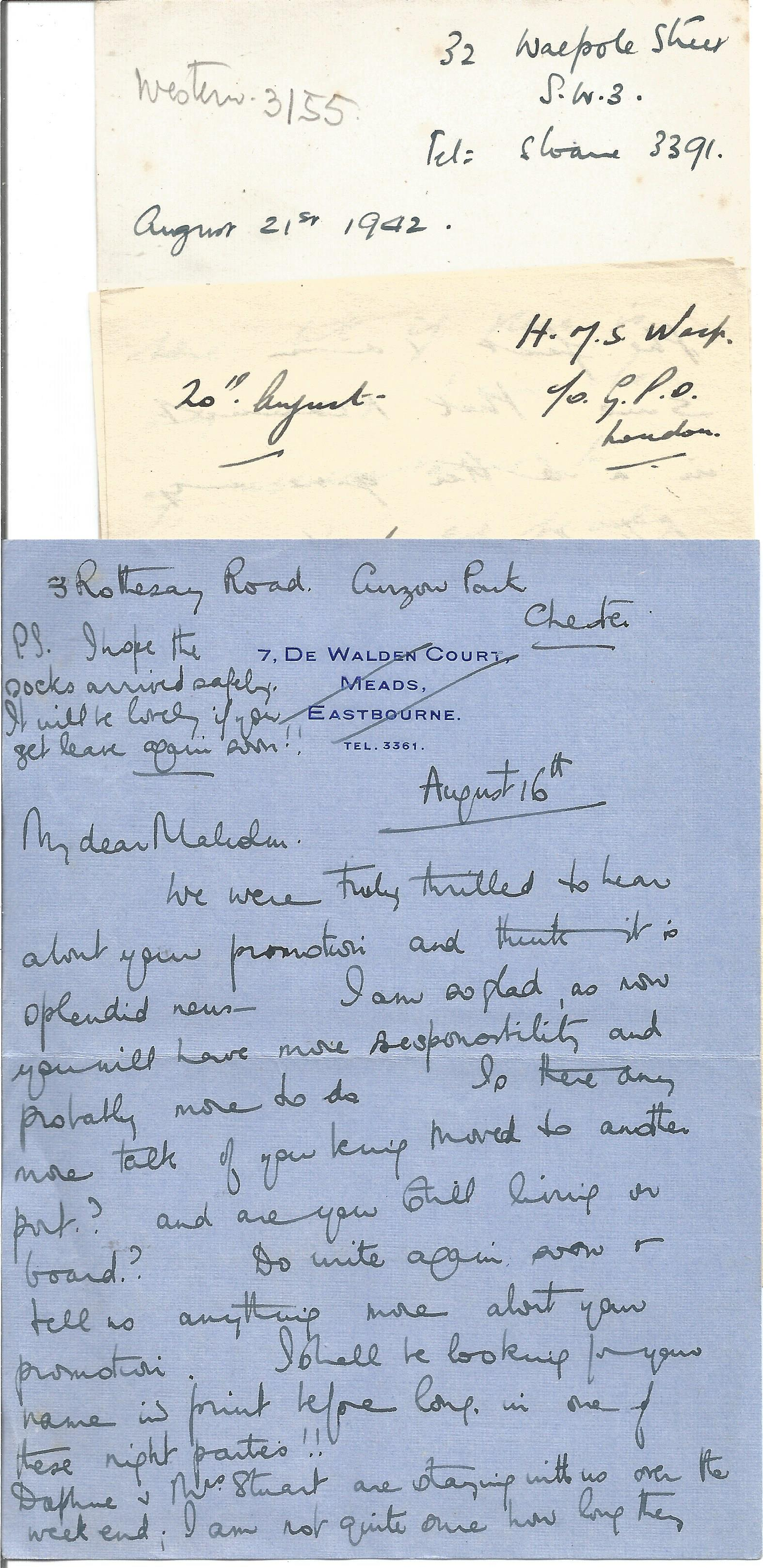 14 Hand written Letters from a Crew Member of H. M. Motor Torpedo Boat 218 with Interesting Content, - Image 3 of 4