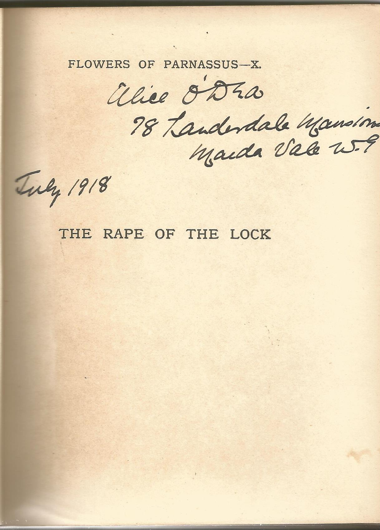Hardback Book The Rape of The Lock by Alexander Pope Illustrations by Aubrey Beardsley 1916 Second - Image 3 of 3