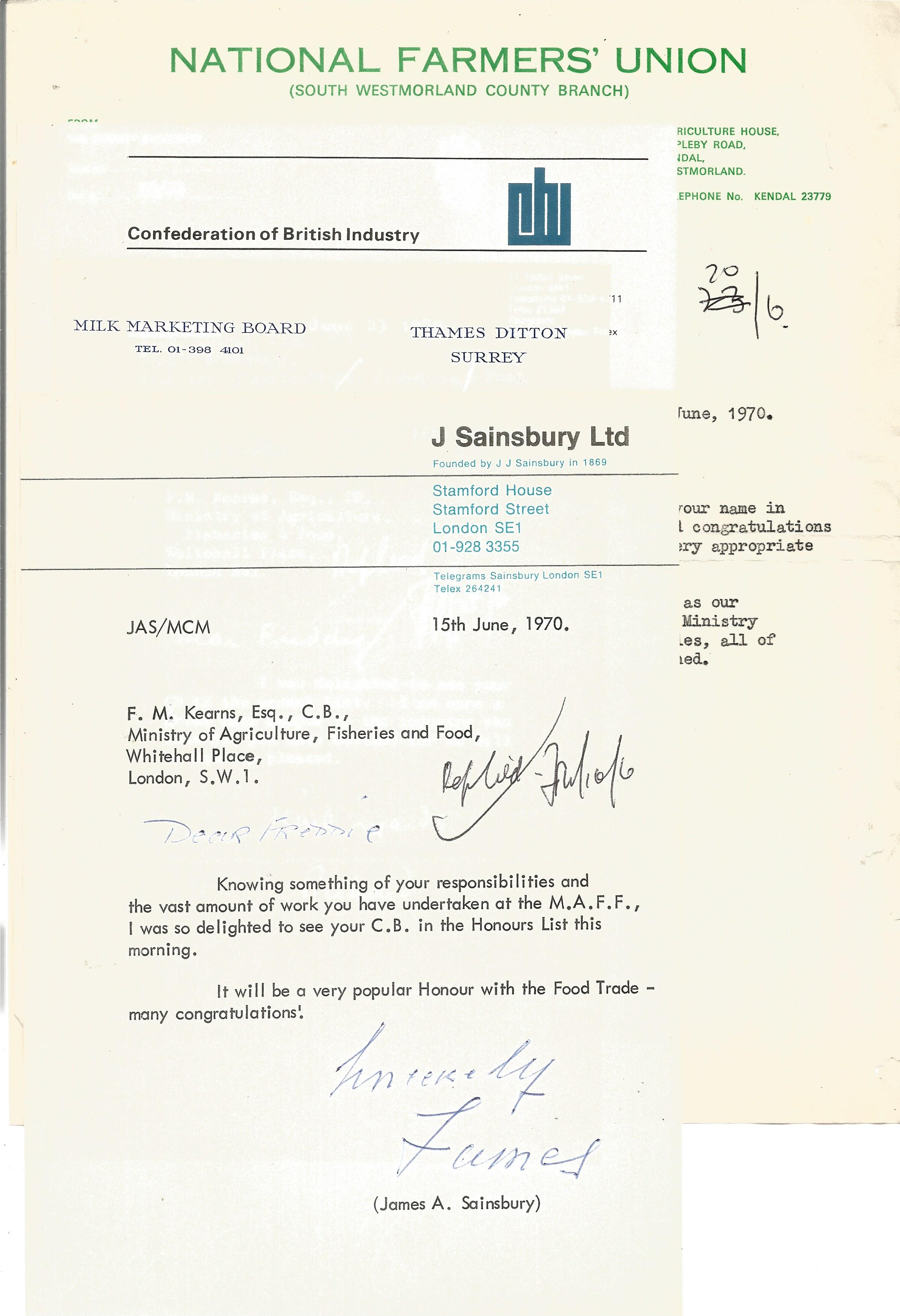 Correspondence collection of mostly signed letters to Mr F Kearns congratulating Him for receiving a - Image 2 of 5