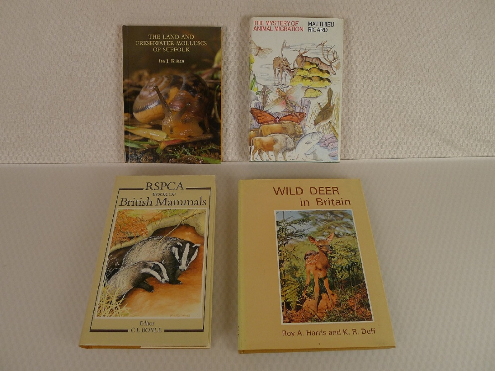 4 x various vintage hardback nature animal books comprising The Land and Freshwater Molluscs of