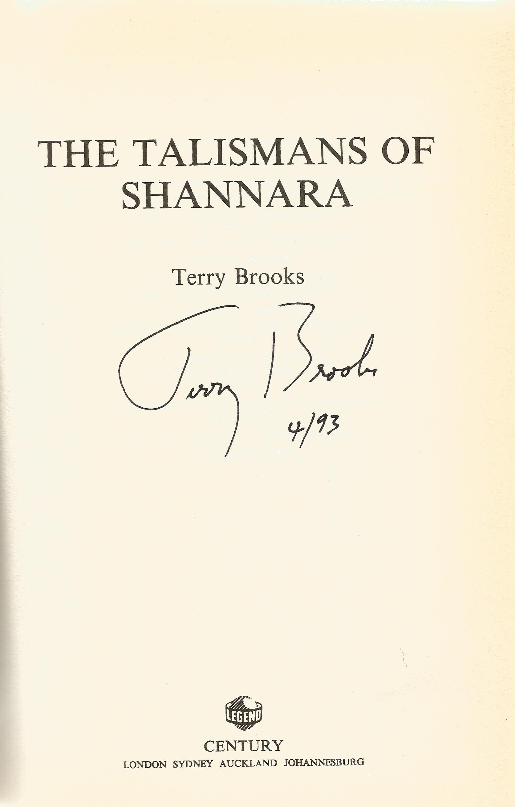 Terry Brooks Hardback Book The Talismans of Shannara signed by the Author on the Title Page and - Image 2 of 2