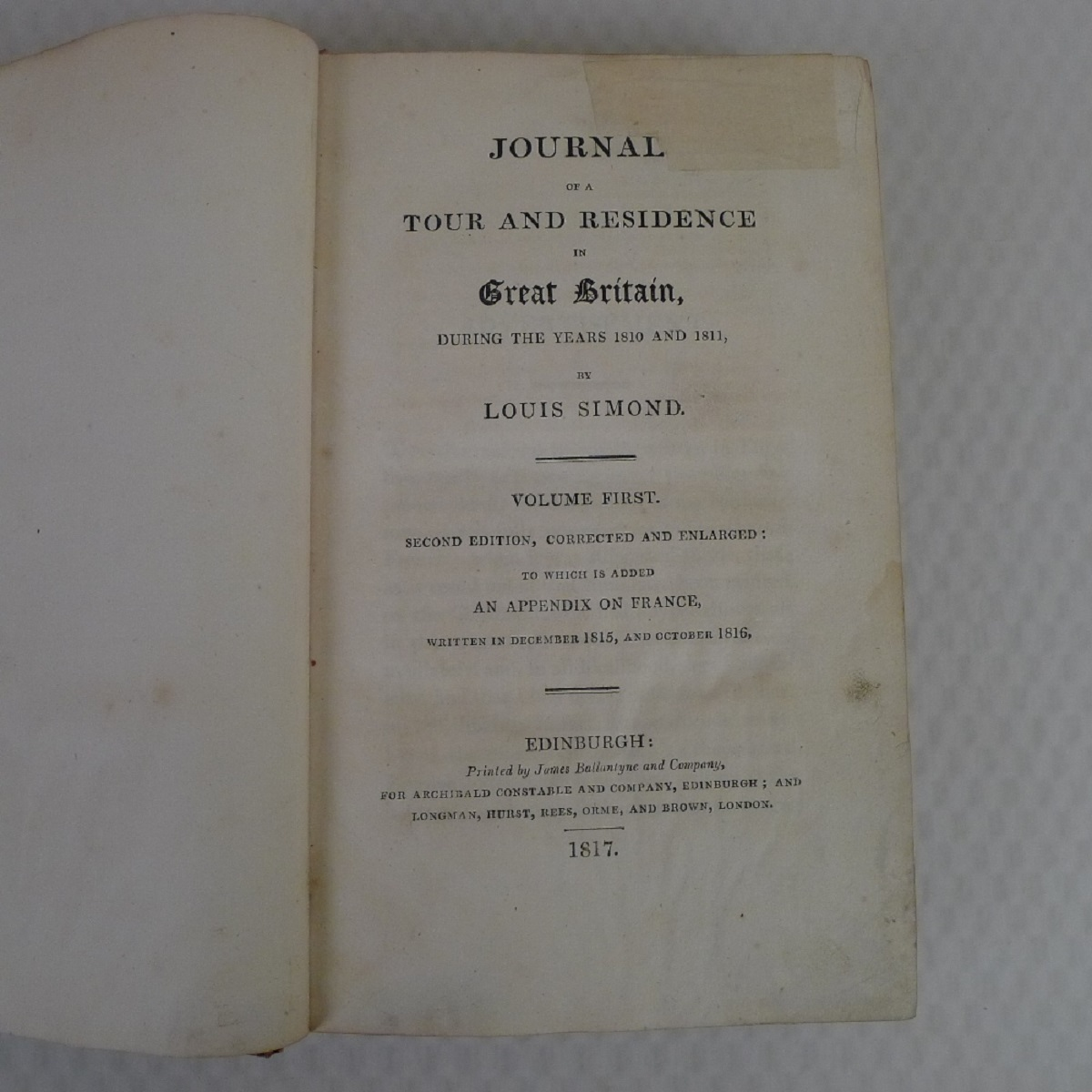 Simond's Travels in Great Britain Volumes I and II, Second Edition published in 1817, being a - Image 3 of 9