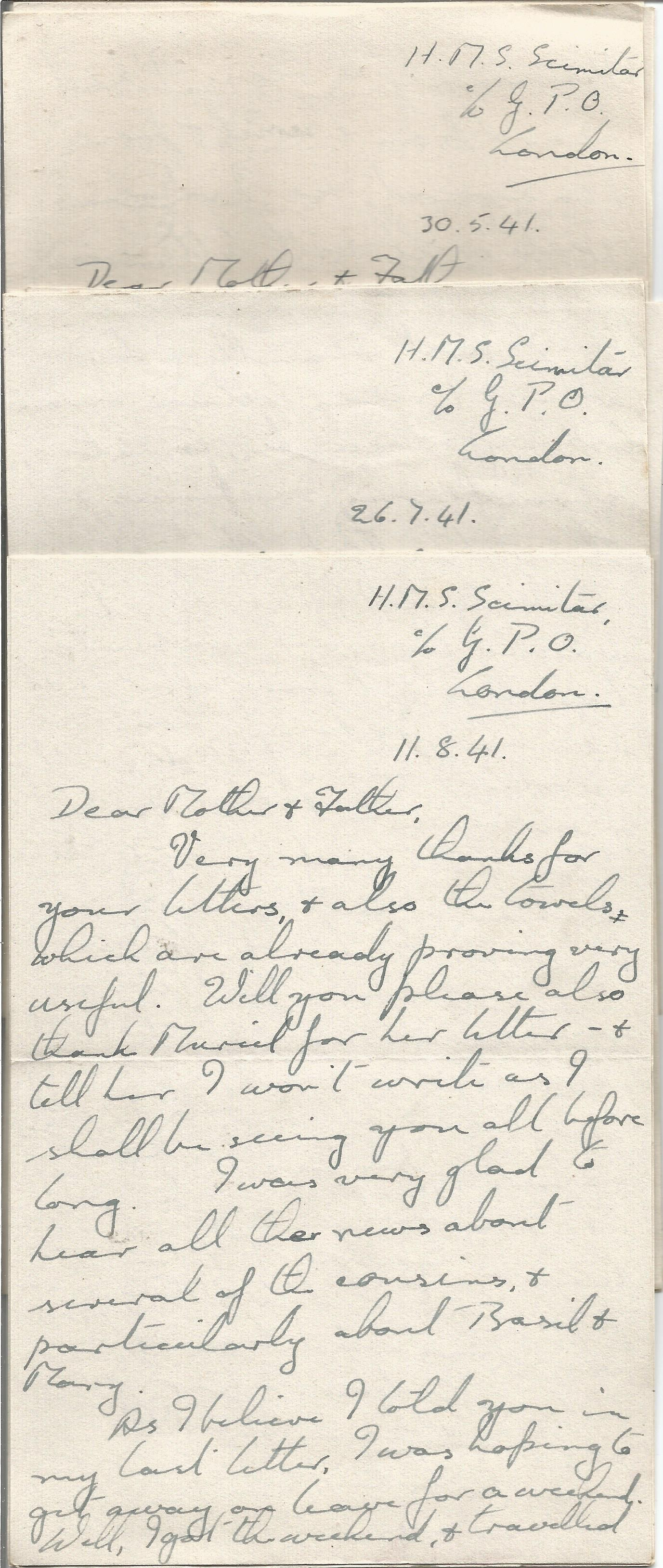 Wartime Correspondence Collection from a crew member of H. M. S. Scimitar plus other WW2 letters,