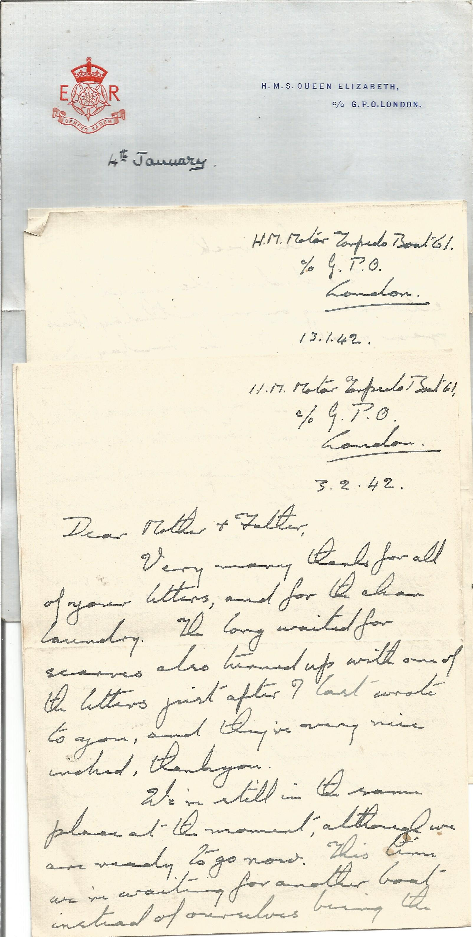 Wartime Correspondence Collection from a crew member of H. M. S. Scimitar plus other WW2 letters, - Image 2 of 4