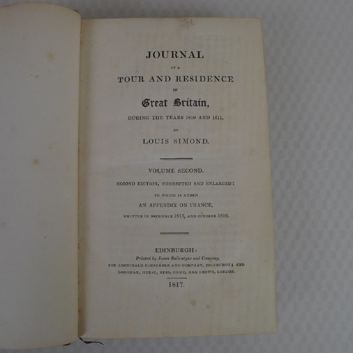 Simond's Travels in Great Britain Volumes I and II, Second Edition published in 1817, being a - Image 4 of 9