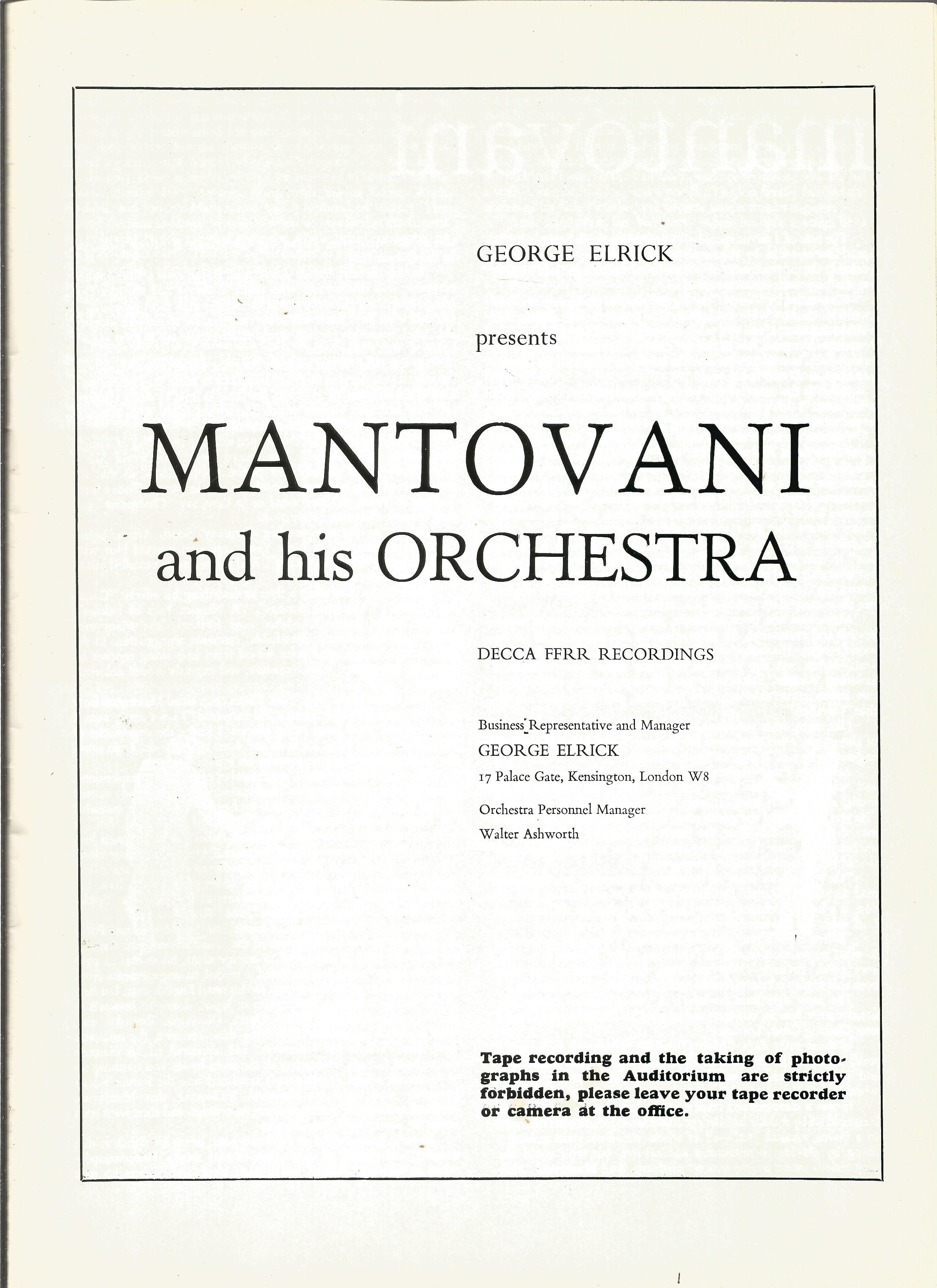 Signed Mantovani In House Brochure 1969 from a performance at Eastbourne Ticket stubs & Decca - Image 3 of 4