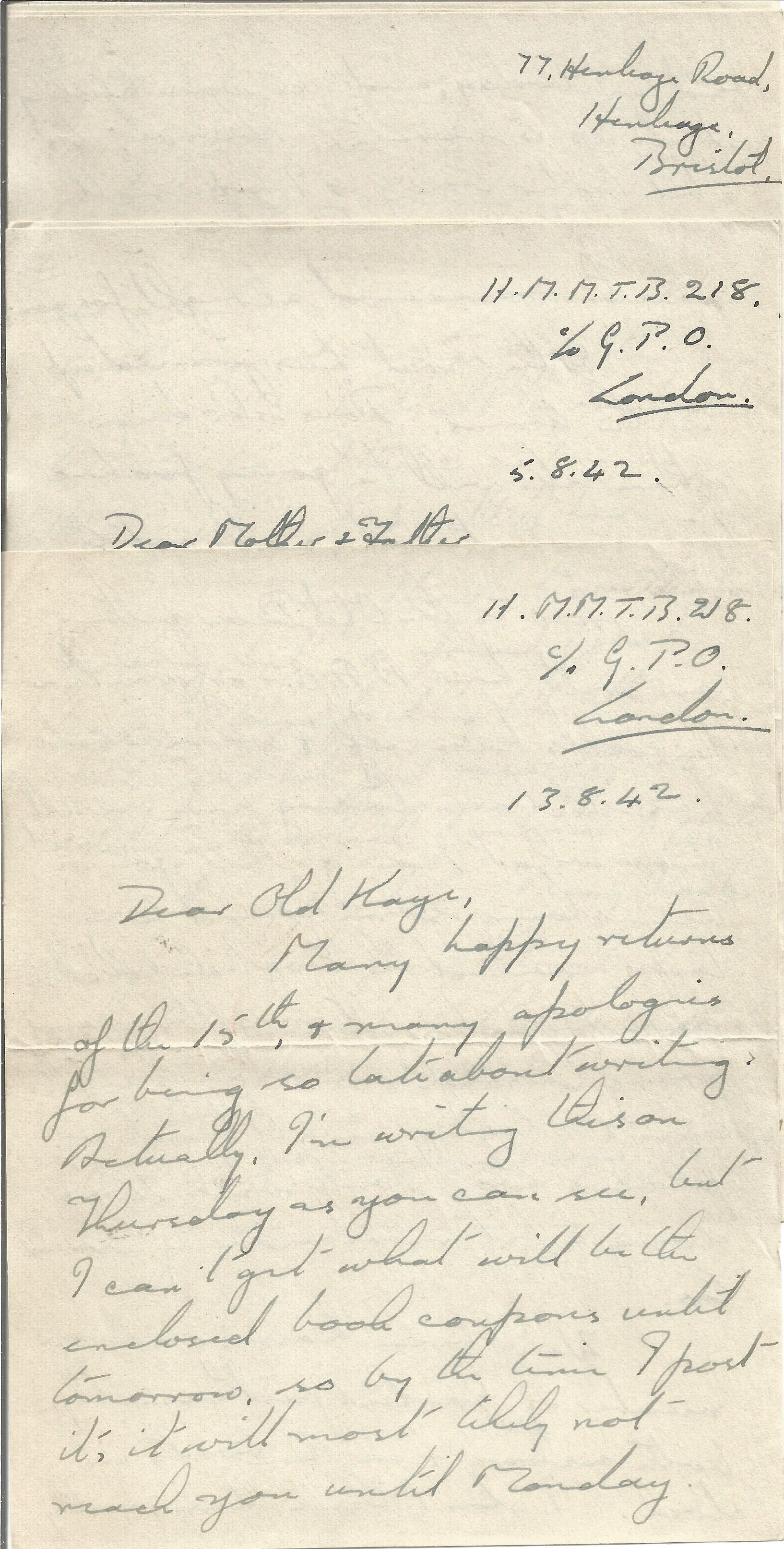 14 Hand written Letters from a Crew Member of H. M. Motor Torpedo Boat 218 with Interesting Content, - Image 2 of 4