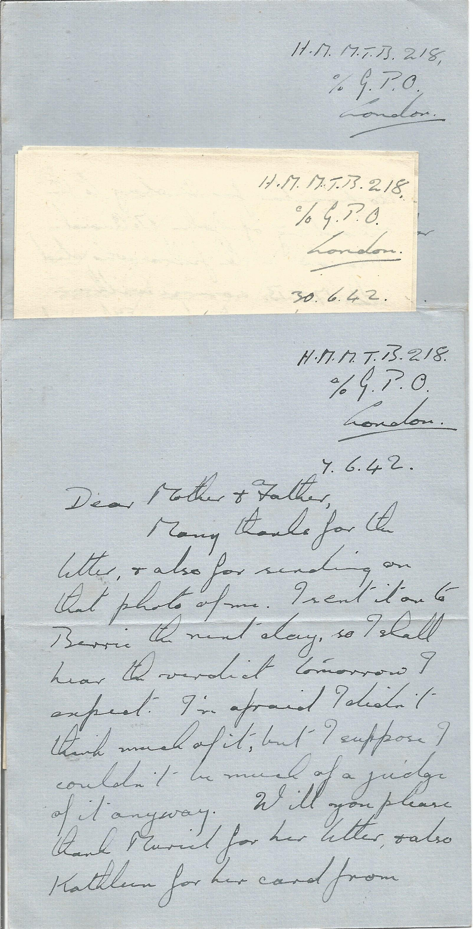 14 Hand written Letters from a Crew Member of H. M. Motor Torpedo Boat 218 with Interesting Content,