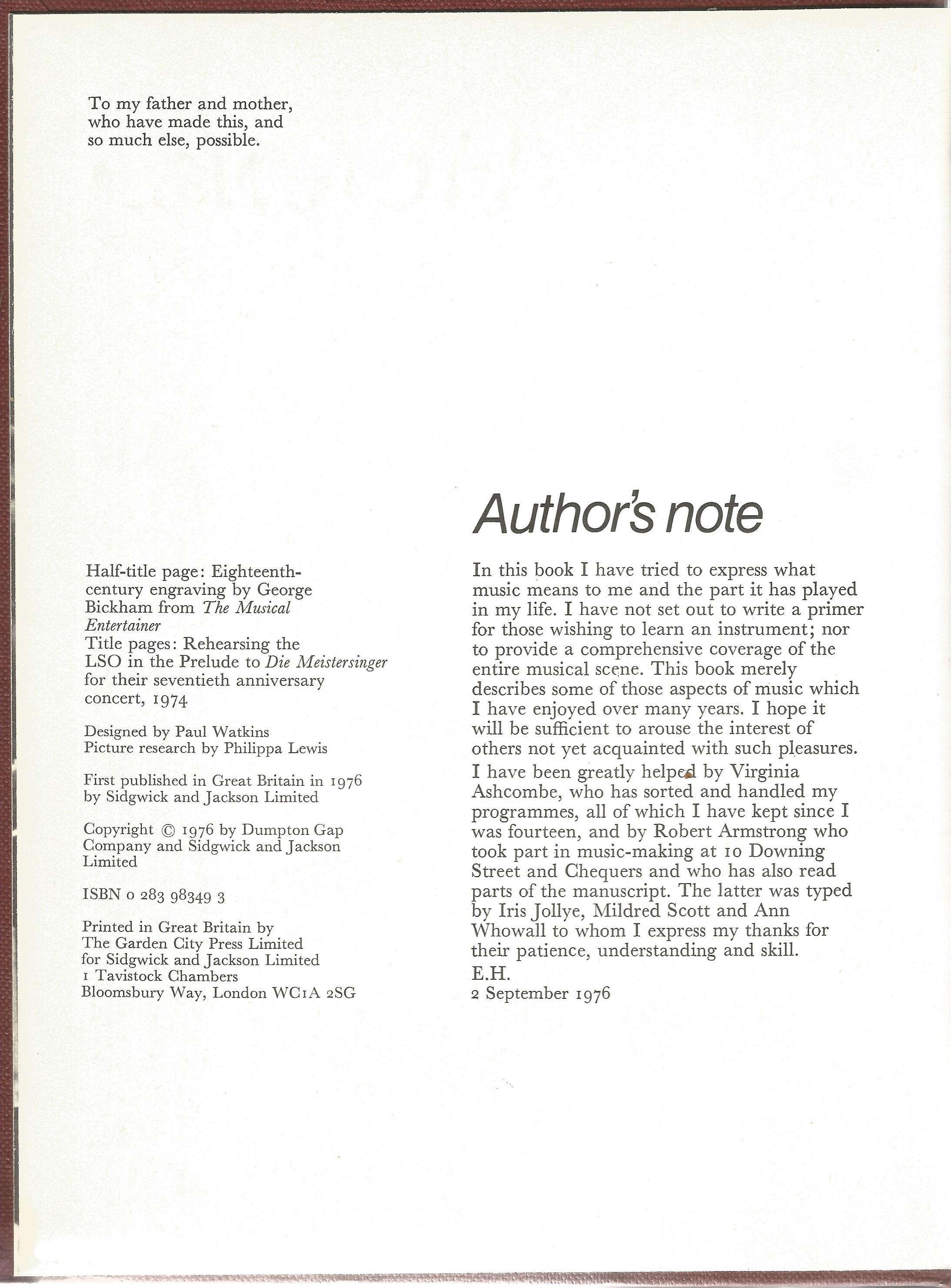 Edward Heath Signed Hardback Book Music A Joy for Life First Edition 1976 published by Sidgwick & - Image 3 of 4