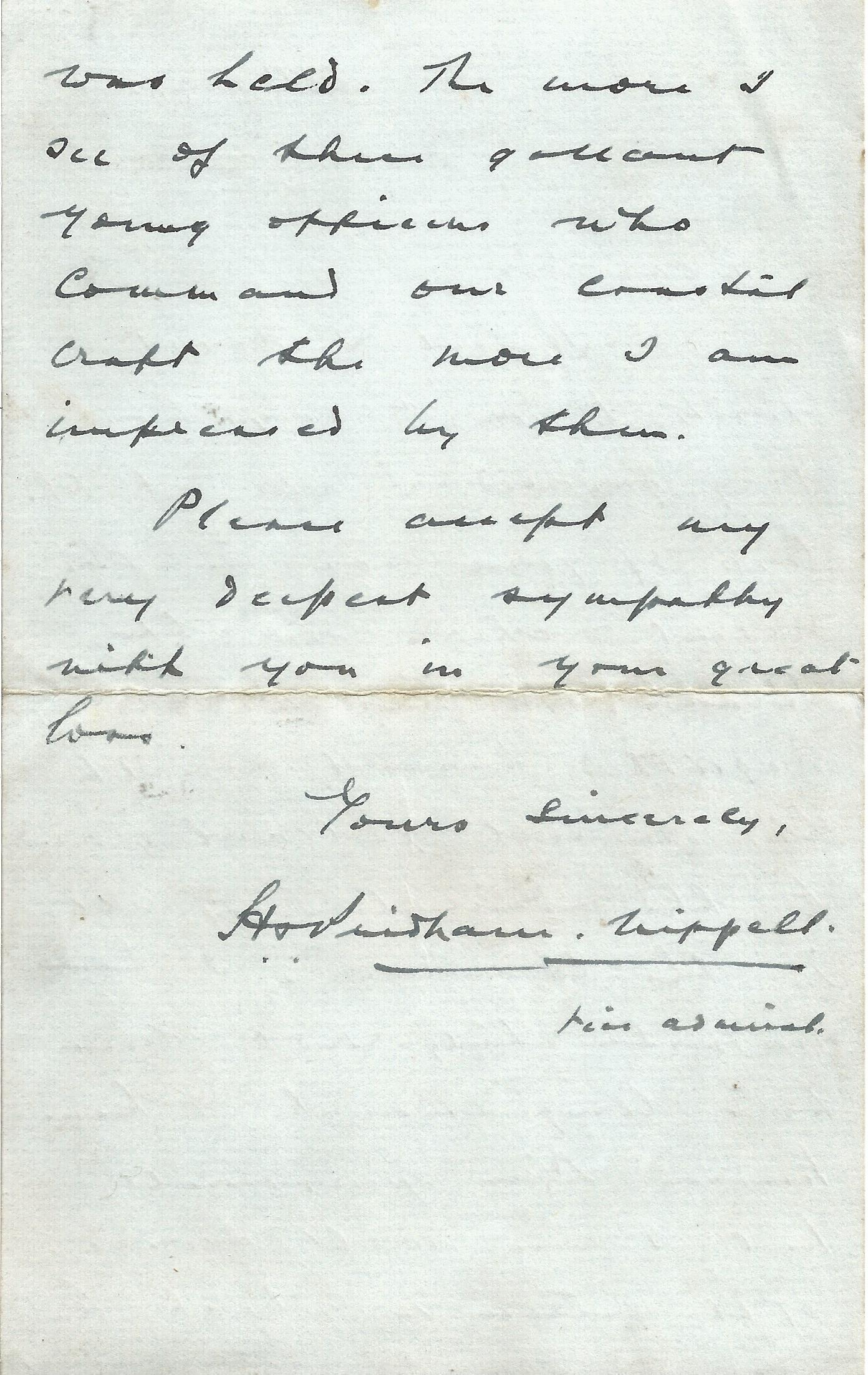 Signed Hand written letter from Admiral Sir Henry Daniel Pridham Wippell Sympathising for the loss - Image 2 of 3
